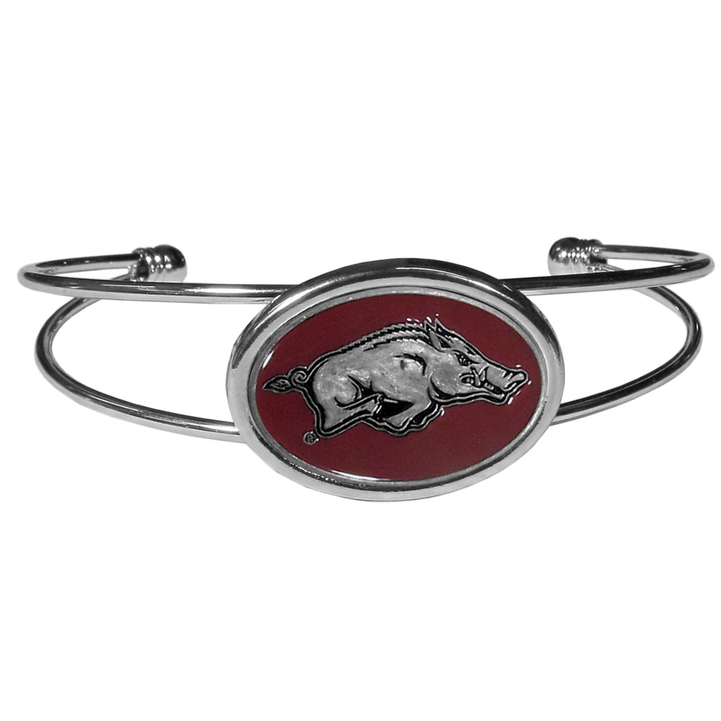 Arkansas Razorbacks Cuff Bracelet - These comfortable and fashionable double-bar cuff bracelets feature a 1 inch metal Arkansas Razorbacks inset logo with enameled detail.