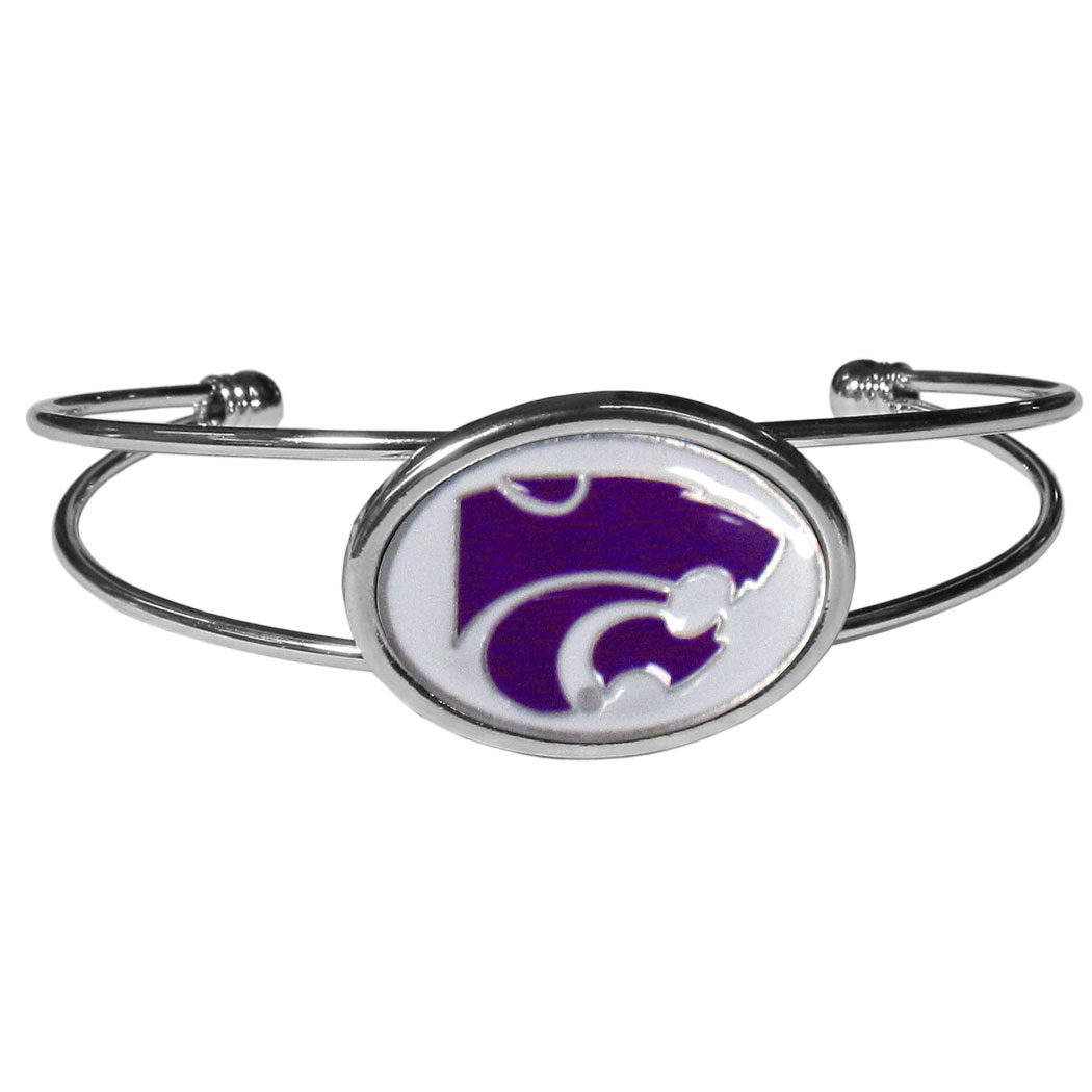 Kansas St. Wildcats Cuff Bracelet - These comfortable and fashionable double-bar cuff bracelets feature a 1 inch metal Kansas St. Wildcats inset logo with enameled detail.