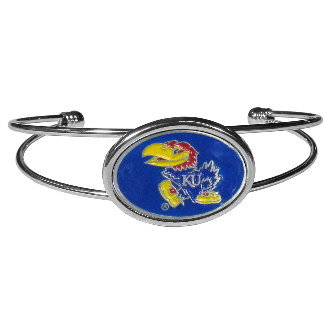 Kansas Jayhawks Cuff Bracelet - These comfortable and fashionable double-bar cuff bracelets feature a 1 inch metal Kansas Jayhawks inset logo with enameled detail.