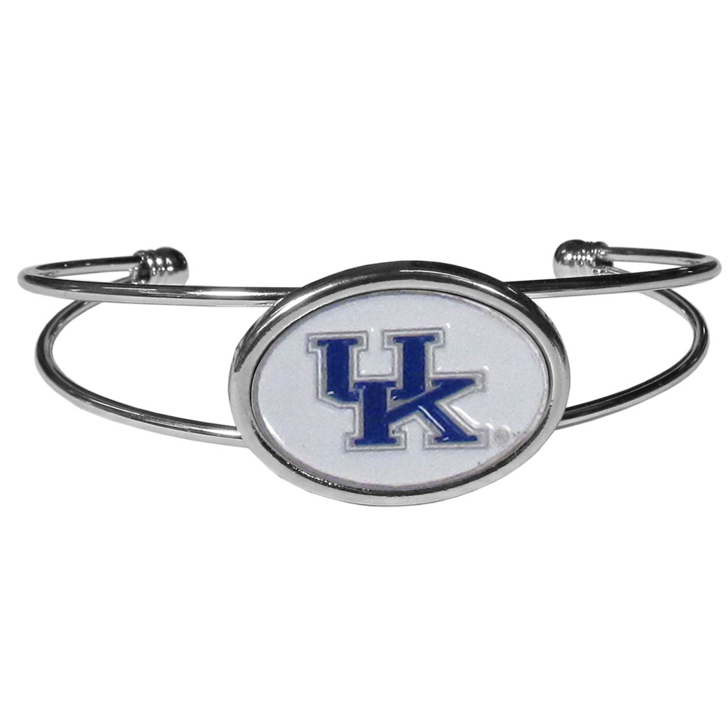 Kentucky Wildcats Cuff Bracelet - These comfortable and fashionable double-bar cuff bracelets feature a 1 inch metal Kentucky Wildcats inset logo with enameled detail.
