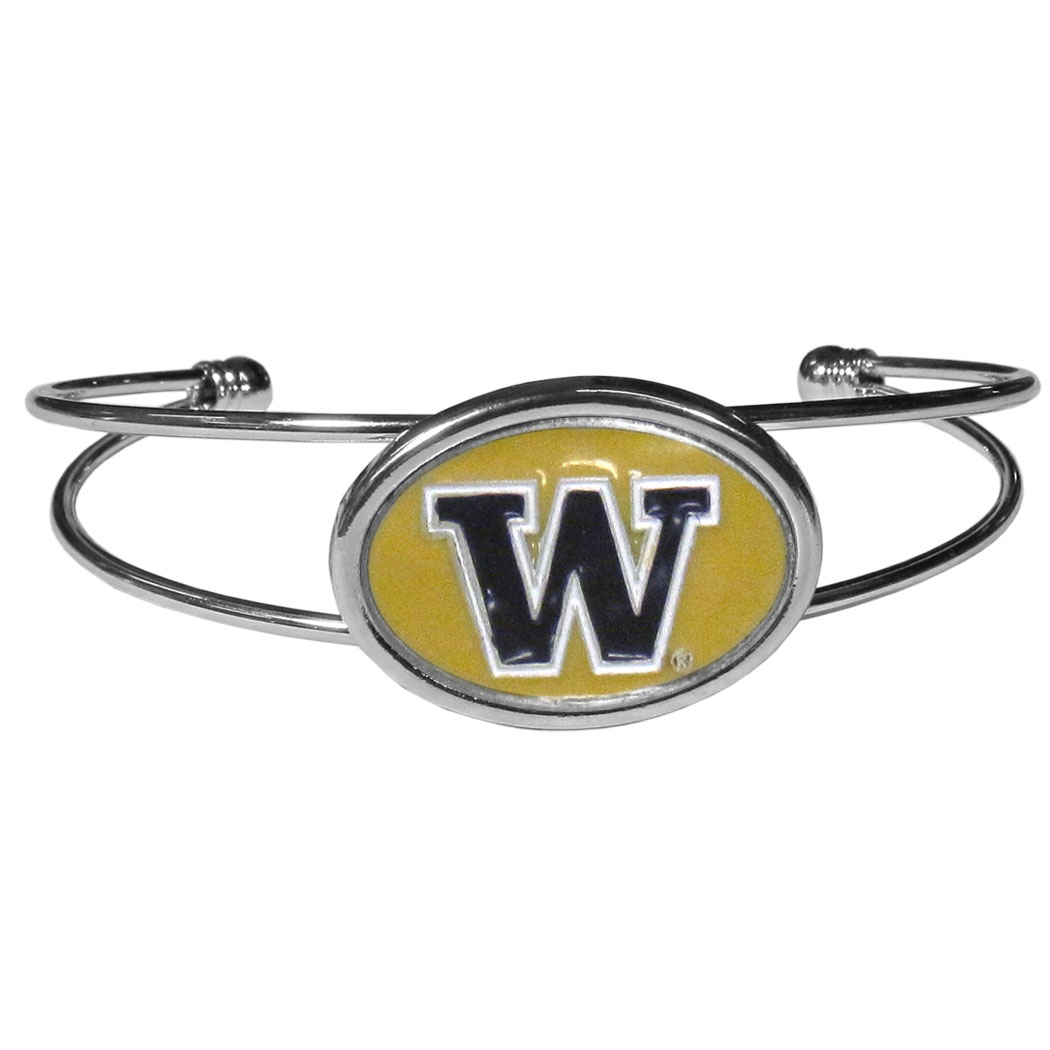 Washington Huskies Cuff Bracelet - These comfortable and fashionable double-bar cuff bracelets feature a 1 inch metal Washington Huskies inset logo with enameled detail.