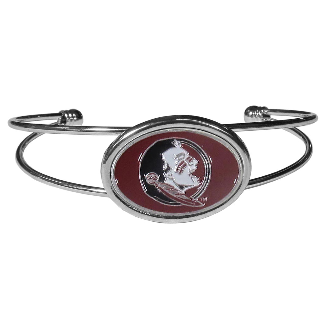 Florida St. Seminoles Cuff Bracelet - These comfortable and fashionable double-bar cuff bracelets feature a 1 inch metal Florida St. Seminoles inset logo with enameled detail.
