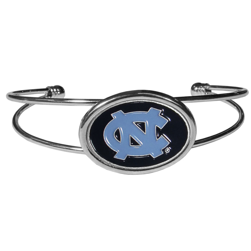 N. Carolina Tar Heels Cuff Bracelet - These comfortable and fashionable double-bar cuff bracelets feature a 1 inch metal N. Carolina Tar Heels inset logo with enameled detail.