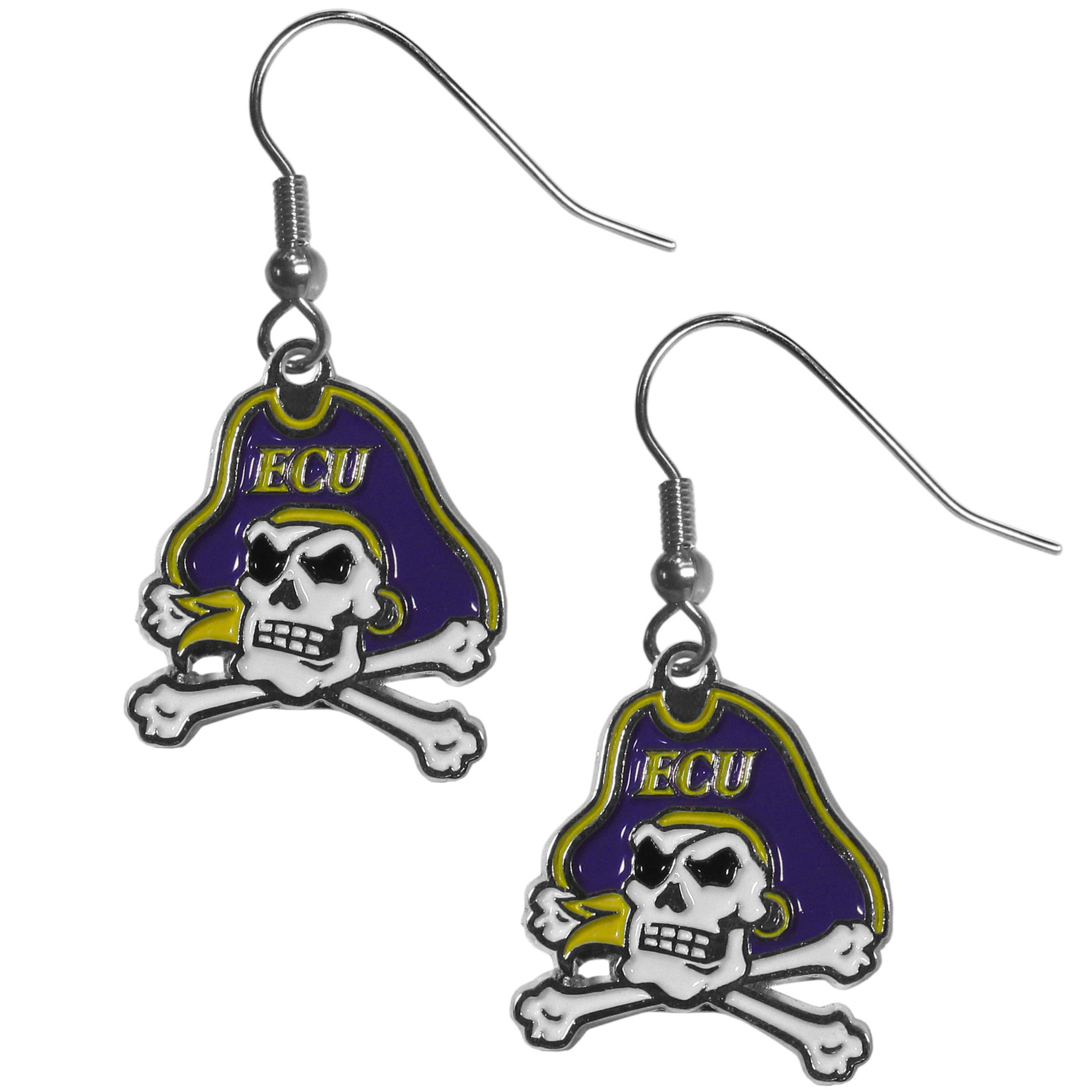 East Carolina Pirates Chrome Dangle Earrings - Our officially licensed chrome dangle earrings have fully cast East Carolina Pirates charms with exceptional detail and a hand enameled finish. The earrings have a high polish nickel free chrome finish and hypoallergenic fishhook posts.