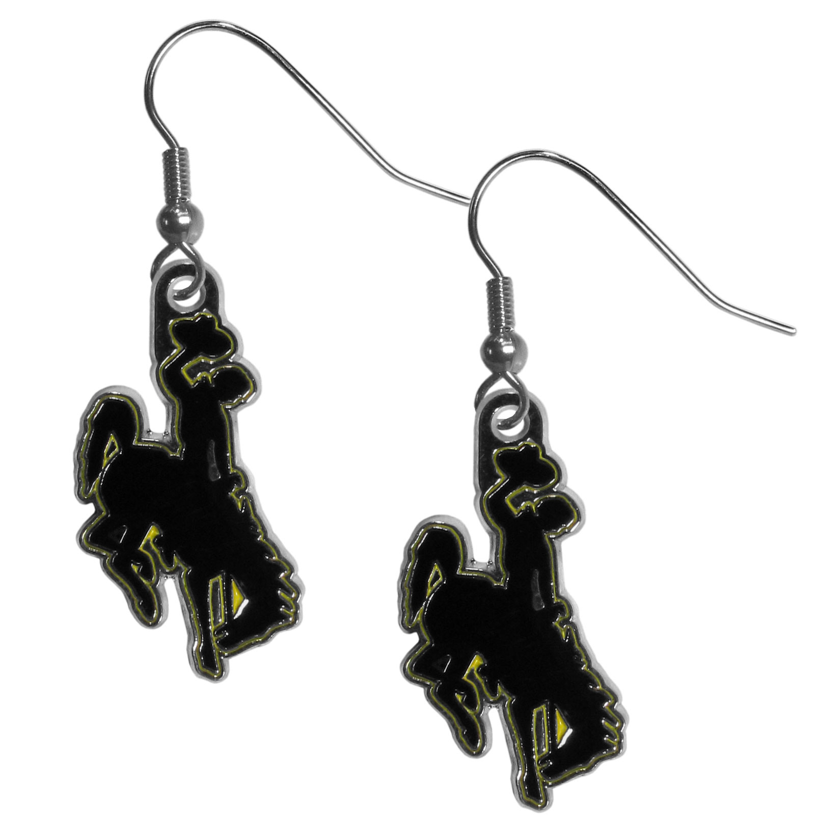 Wyoming Cowboys Chrome Dangle Earrings - Our officially licensed chrome dangle earrings have fully cast Wyoming Cowboy charms with exceptional detail and a hand enameled finish. The earrings have a high polish nickel free chrome finish and hypoallergenic fishhook posts.