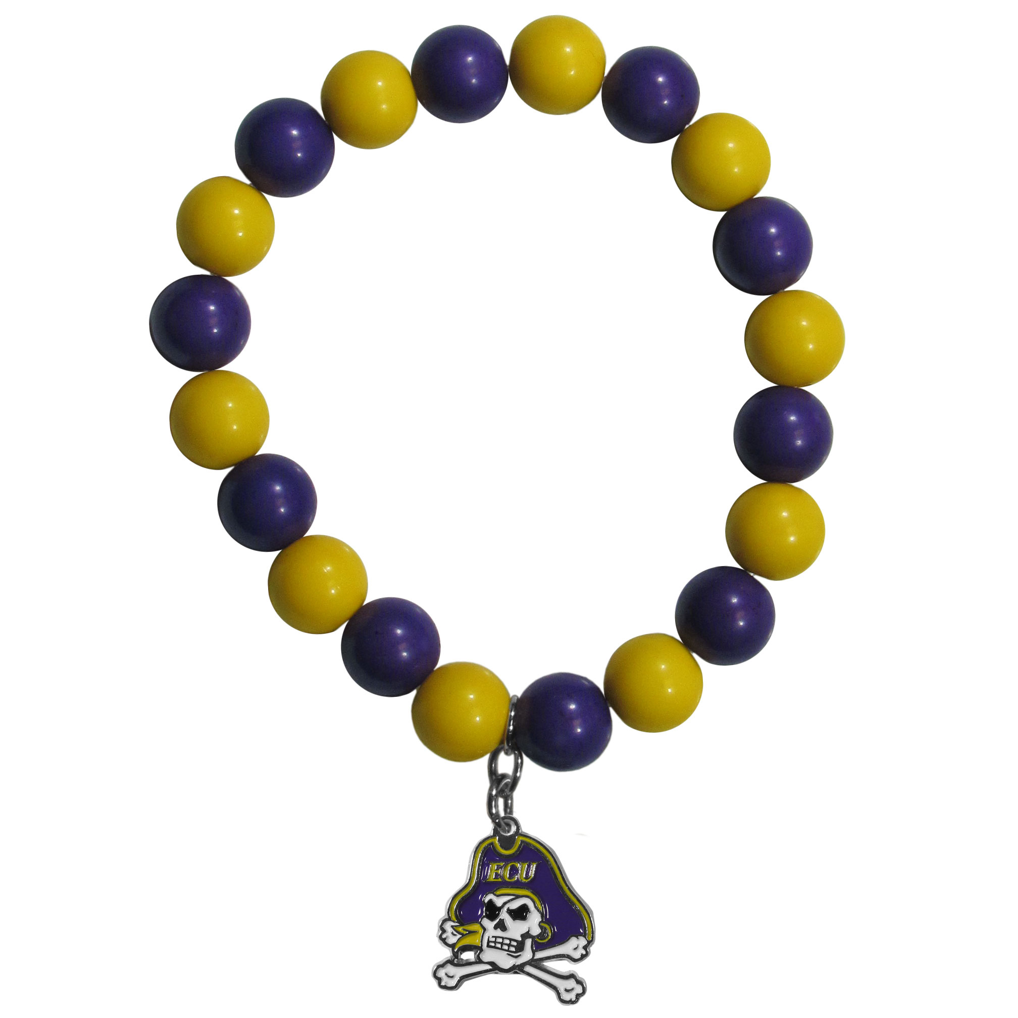 East Carolina Pirates Fan Bead Bracelet - Flash your East Carolina Pirates spirit with this bright stretch bracelet. This new bracelet features multicolored team beads on stretch cord with a nickel-free enameled chrome team charm. This bracelet adds the perfect pop of color to your game day accessories.