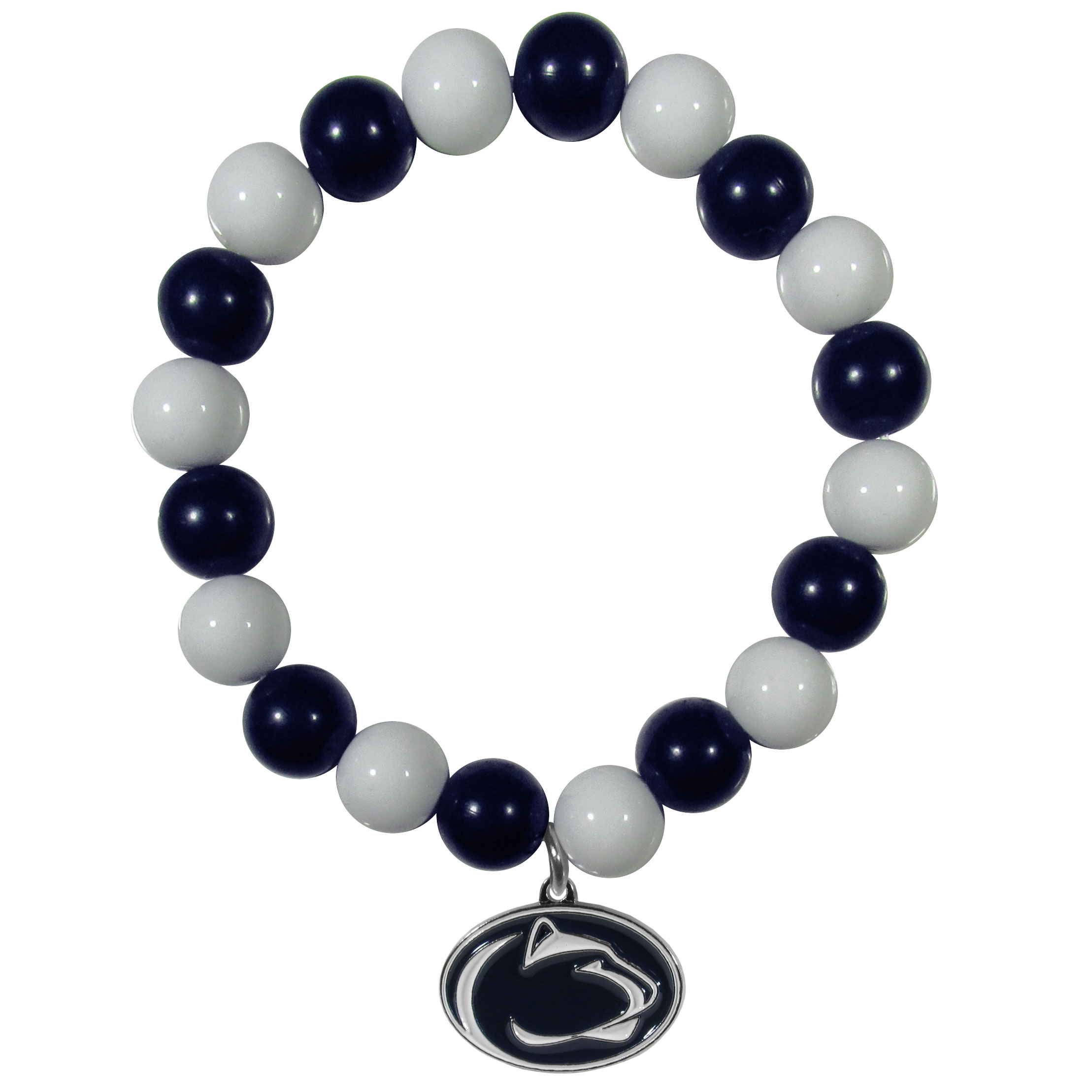 Penn St. Nittany Lions Fan Bead Bracelet - Flash your Penn St. Nittany Lions spirit with this bright stretch bracelet. This new bracelet features multicolored team beads on stretch cord with a nickel-free enameled chrome team charm. This bracelet adds the perfect pop of color to your game day accessories.