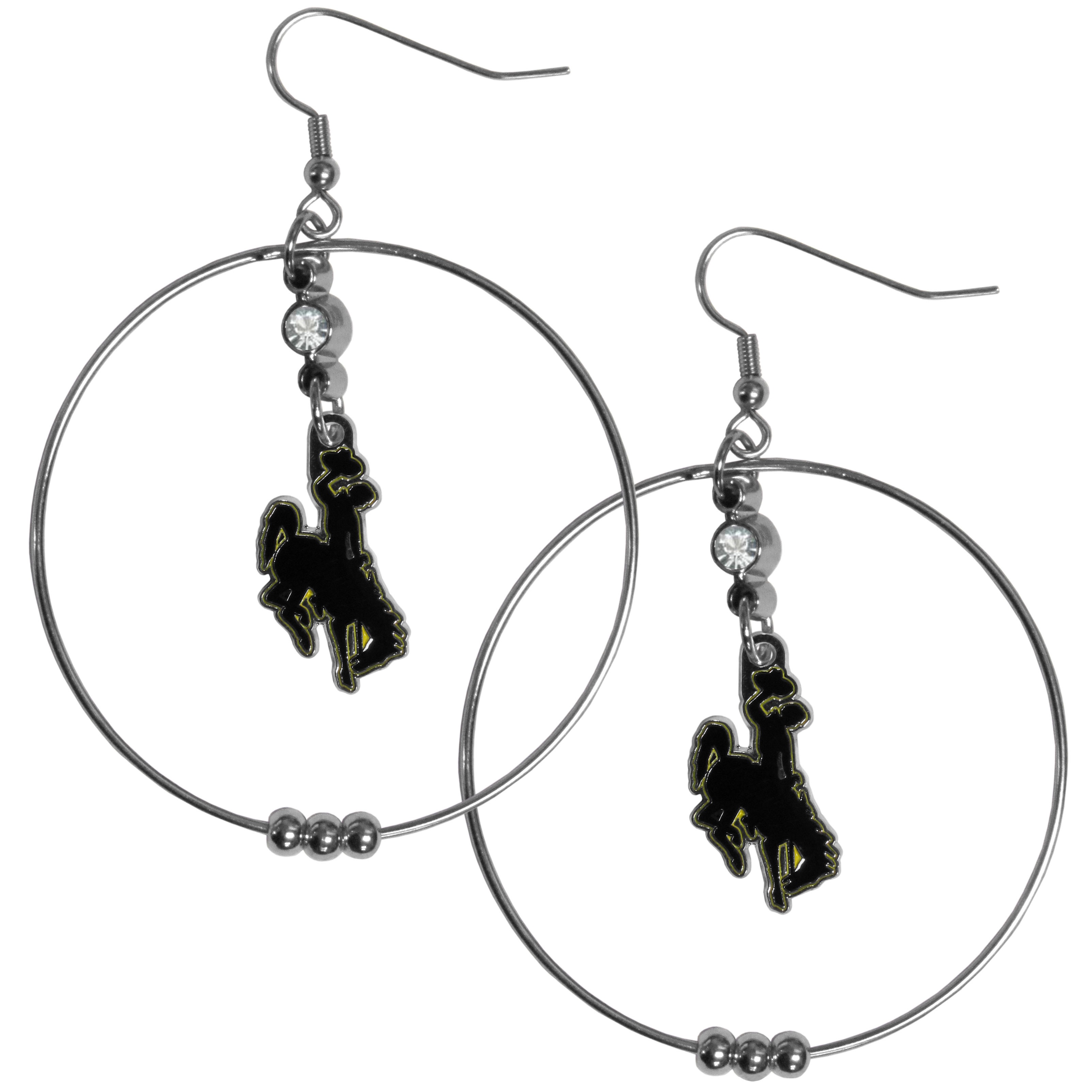 Wyoming Cowboys 2 Inch Hoop Earrings - Our large hoop earrings have a fully cast and enameled Wyoming Cowboy charm with enameled detail and a high polish nickel free chrome finish and rhinestone access. Hypoallergenic fishhook posts.