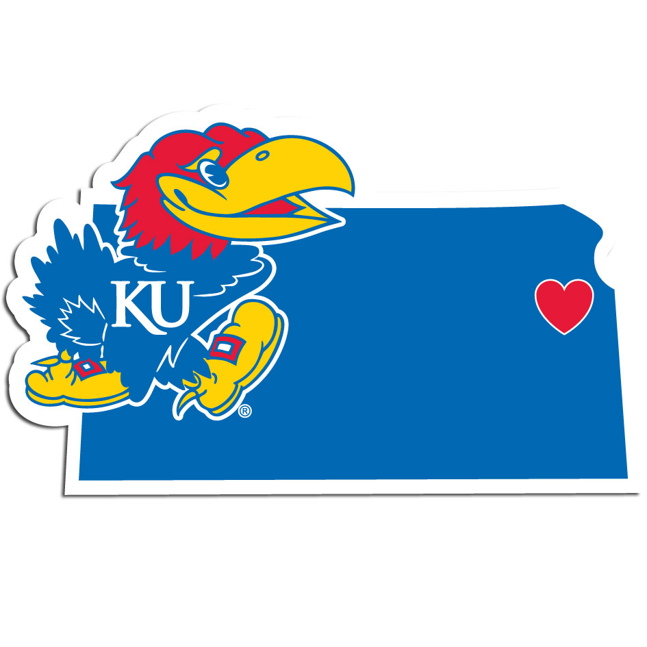 Kansas Jayhawks Home State Decal - It's a home state decal with a sporty twist! This Kansas Jayhawks decal feature the team logo over a silhouette of the state in team colors and a heart marking the home of the team. The decal is approximately 5 inches on repositionable vinyl.