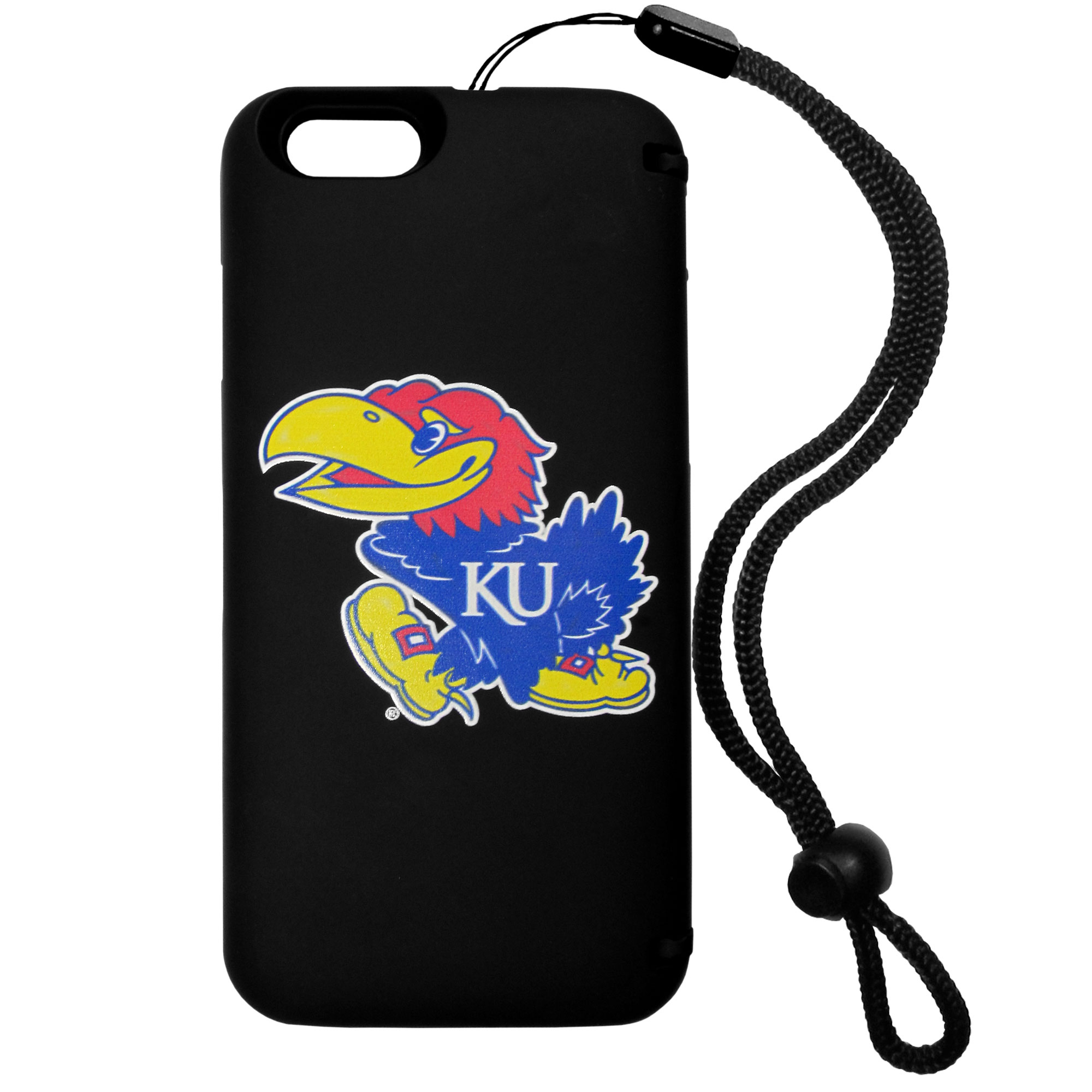 Kansas Jayhawks iPhone 6 Everything Case - This case really does have everything but the kitchen sink! The hidden compartment lets you keep your cards, money and tickets to the big game safe and secure and has a compact mirror so you can make sure your game face is ready to go. It also comes with a kickstand to make chatting and watching videos a breeze. The wrist strap allows you to travel with ease with your everything case. If that's not enough, it also comes with the Kansas Jayhawks logo printed in expert detail on the front.