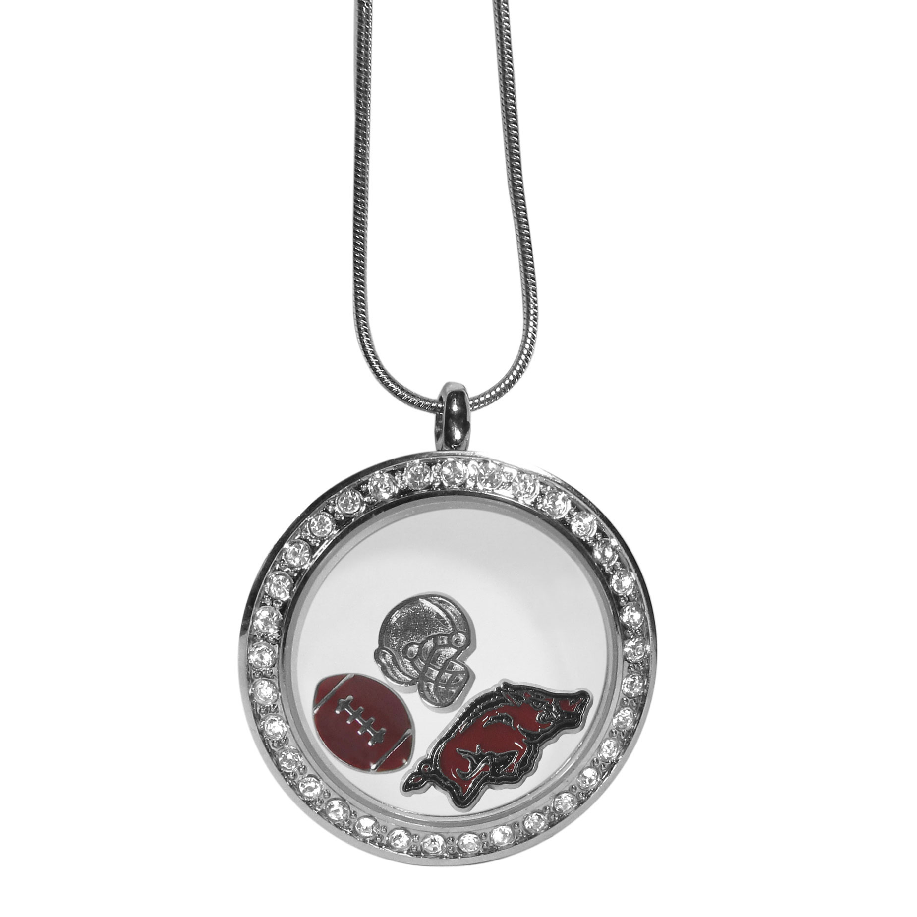 Arkansas Razorbacks Locket Necklace - We have taken the classic floating charm locket and combined with licensed sports charms to create a must have fan necklace. The necklace comes with 3 charms; 1 Arkansas Razorbacks charm, one football charm and one helmet charm. The charms float in a beautiful locket that has a strong magnetic closure with a rhinestone border. The locket comes on an 18 inch snake chain with 2 inch extender.