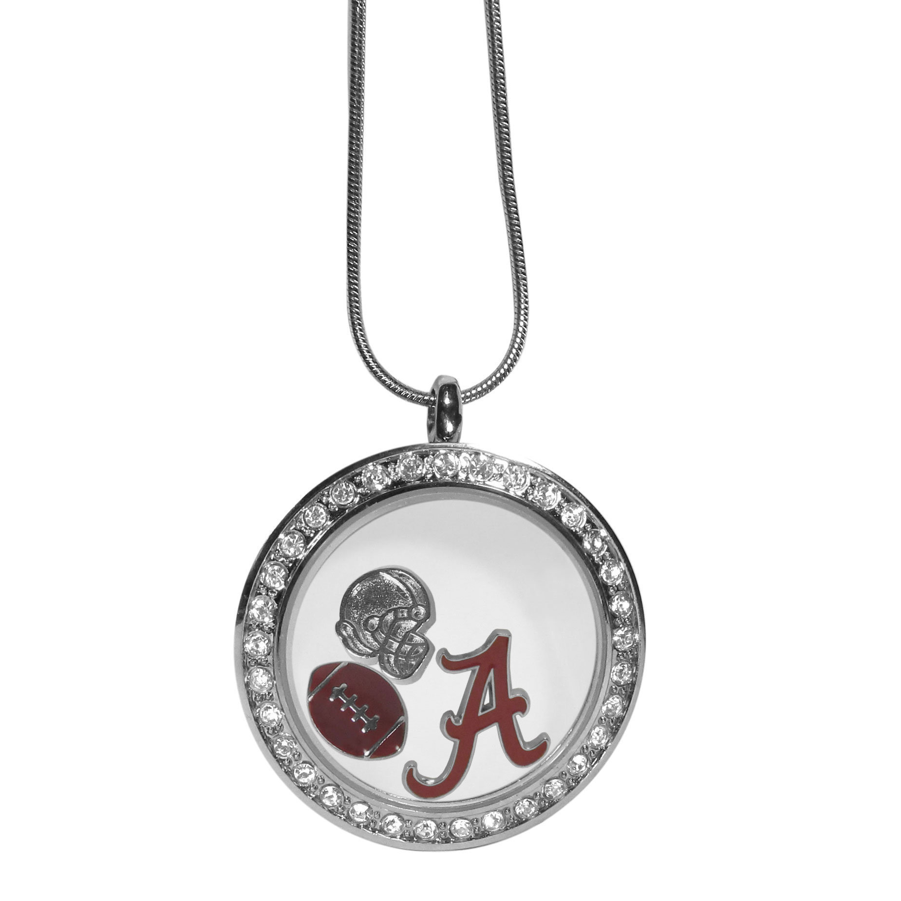 Alabama Crimson Tide Locket Necklace - We have taken the classic floating charm locket and combined with licensed sports charms to create a must have fan necklace. The necklace comes with 3 charms; 1 Alabama Crimson Tide charm, one football charm and one helmet charm. The charms float in a beautiful locket that has a strong magnetic closure with a rhinestone border. The locket comes on an 18 inch snake chain with 2 inch extender.
