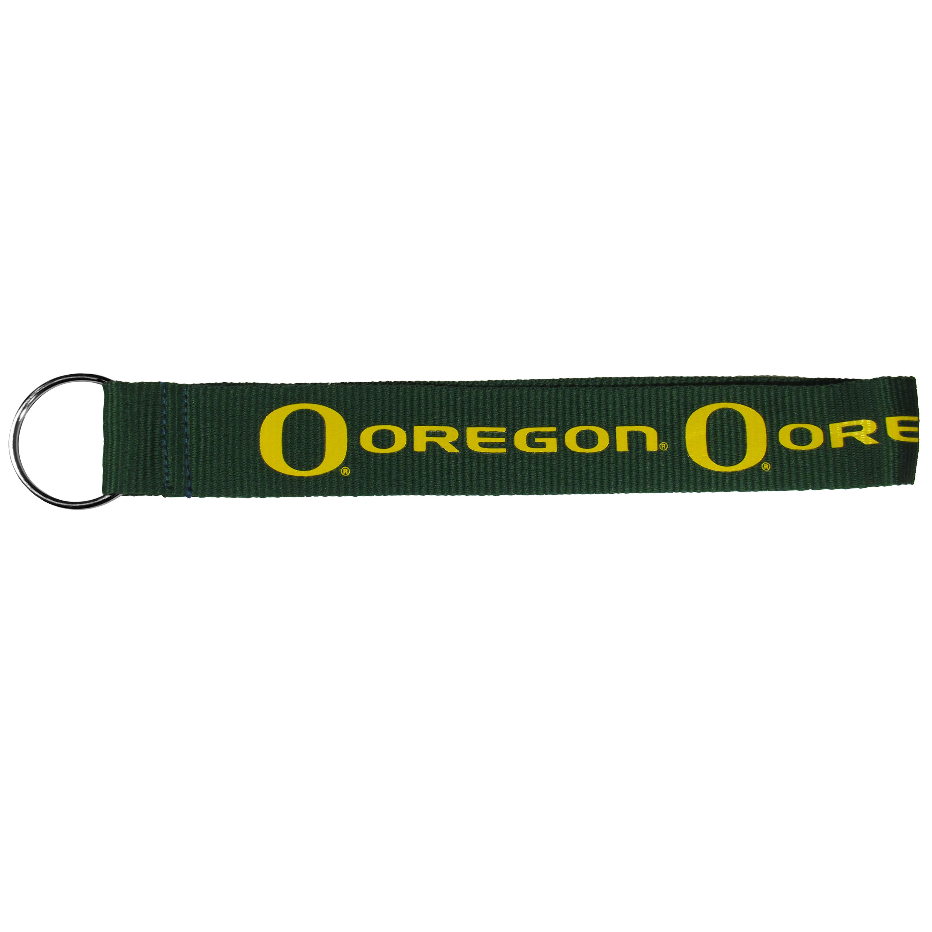 Oregon Ducks  Lanyard Key Chain - Our wrist strap lanyard key chain is made of durable and comfortable woven material and is a not only a great key chain but an easy way to keep track of your keys. The bright Oregon Ducks graffics makes this key chain easy to find in gym bags, purses and in the dreaded couch cushions.