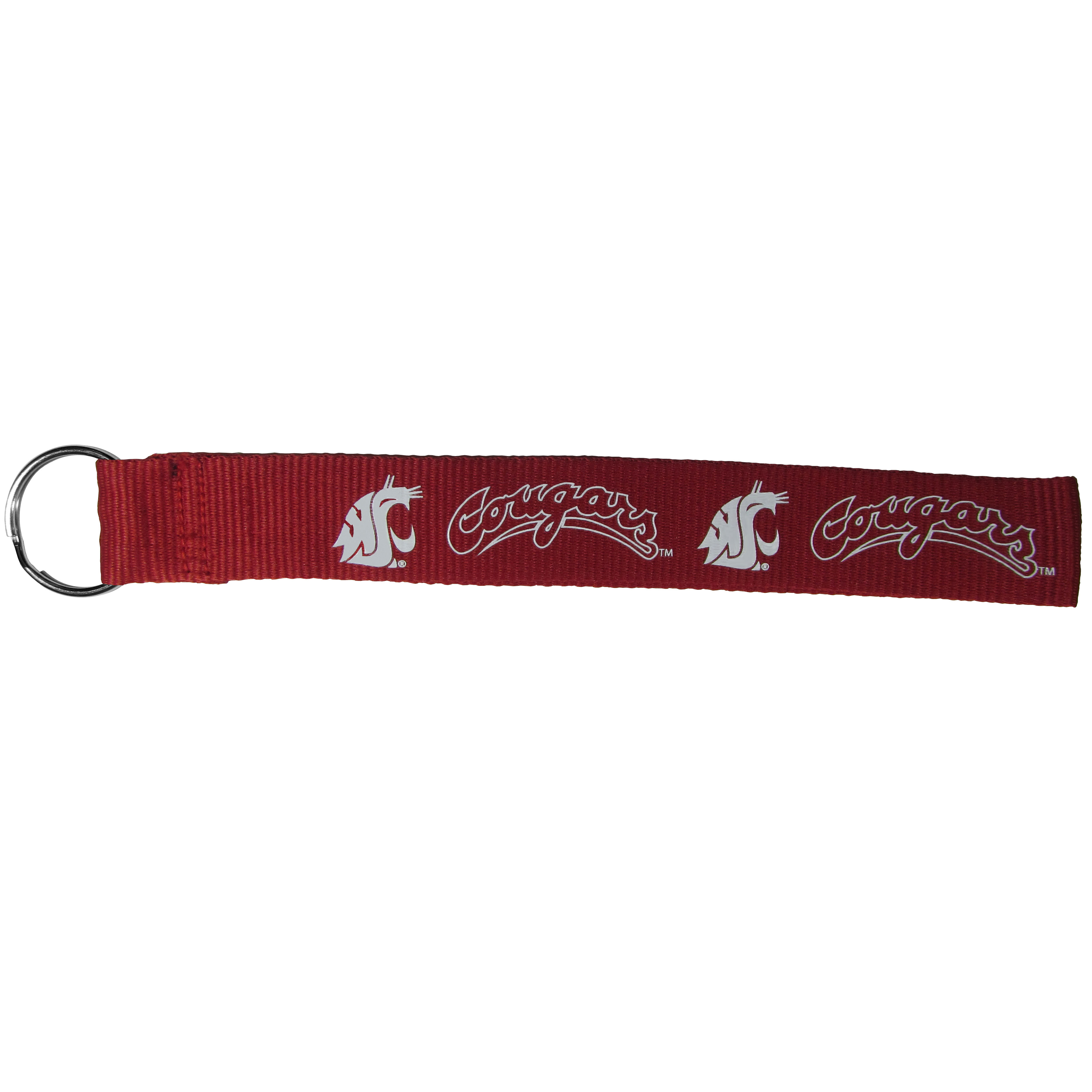 Washington St. Cougars  Lanyard Key Chain - Our wrist strap lanyard key chain is made of durable and comfortable woven material and is a not only a great key chain but an easy way to keep track of your keys. The bright Washington St. Cougars graffics makes this key chain easy to find in gym bags, purses and in the dreaded couch cushions.