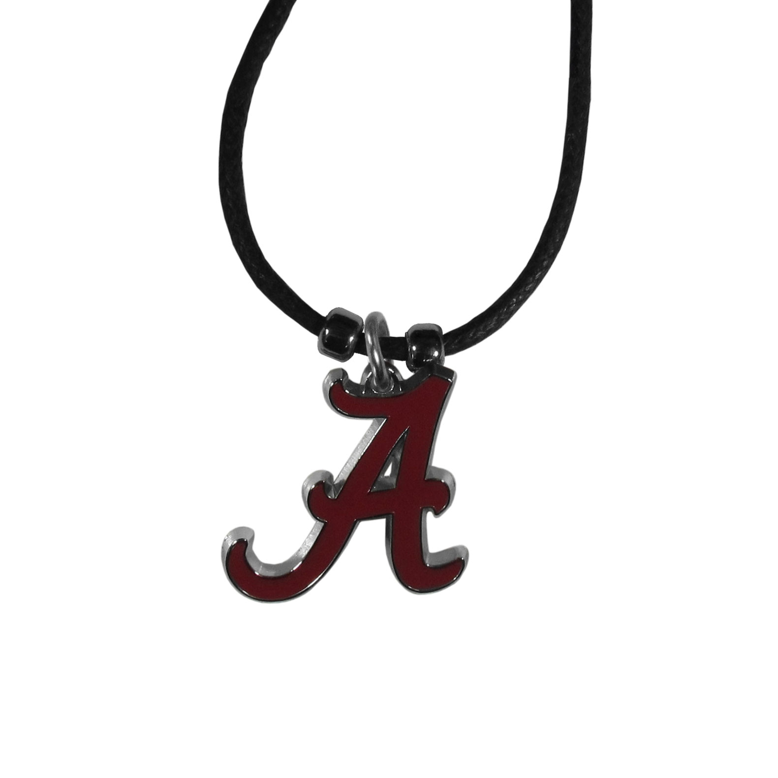 Alabama Crimson Tide Cord Necklace - This classic style cotton cord necklace features an extra large Alabama Crimson Tide pendant on a 21 inch cord.