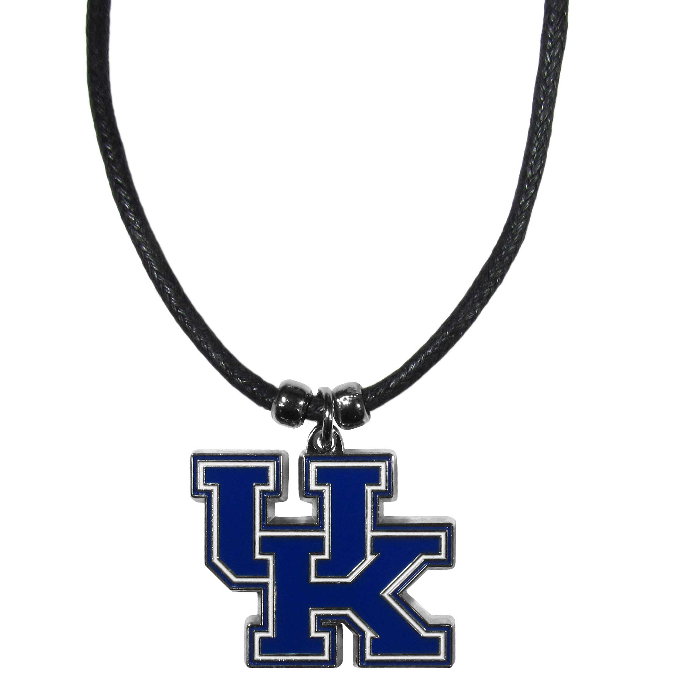 Kentucky Wildcats Cord Necklace - This classic style cotton cord necklace features an extra large Kentucky Wildcats pendant on a 21 inch cord.