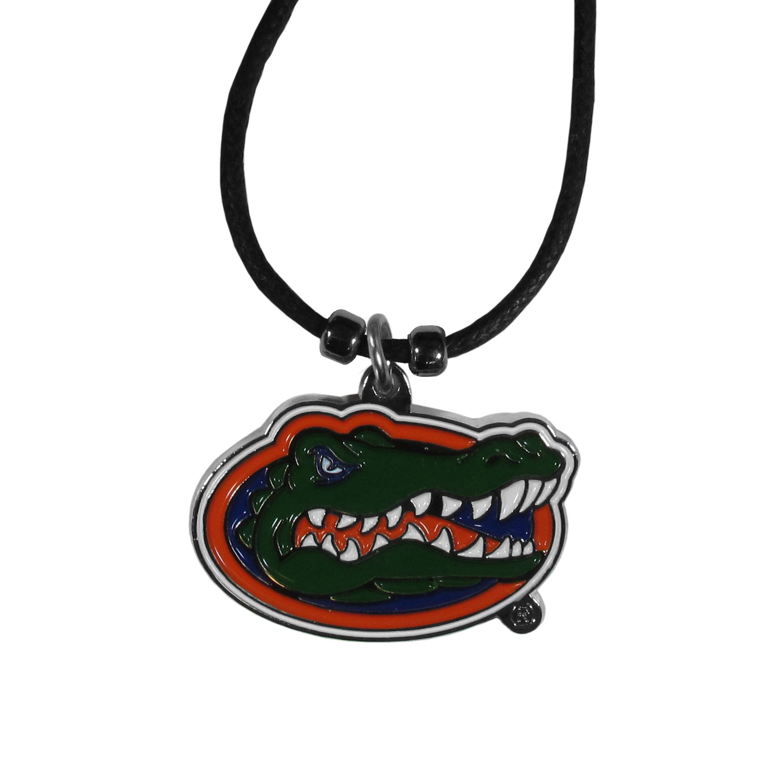 Florida Gators Cord Necklace - This classic style cotton cord necklace features an extra large Florida Gators pendant on a 21 inch cord.