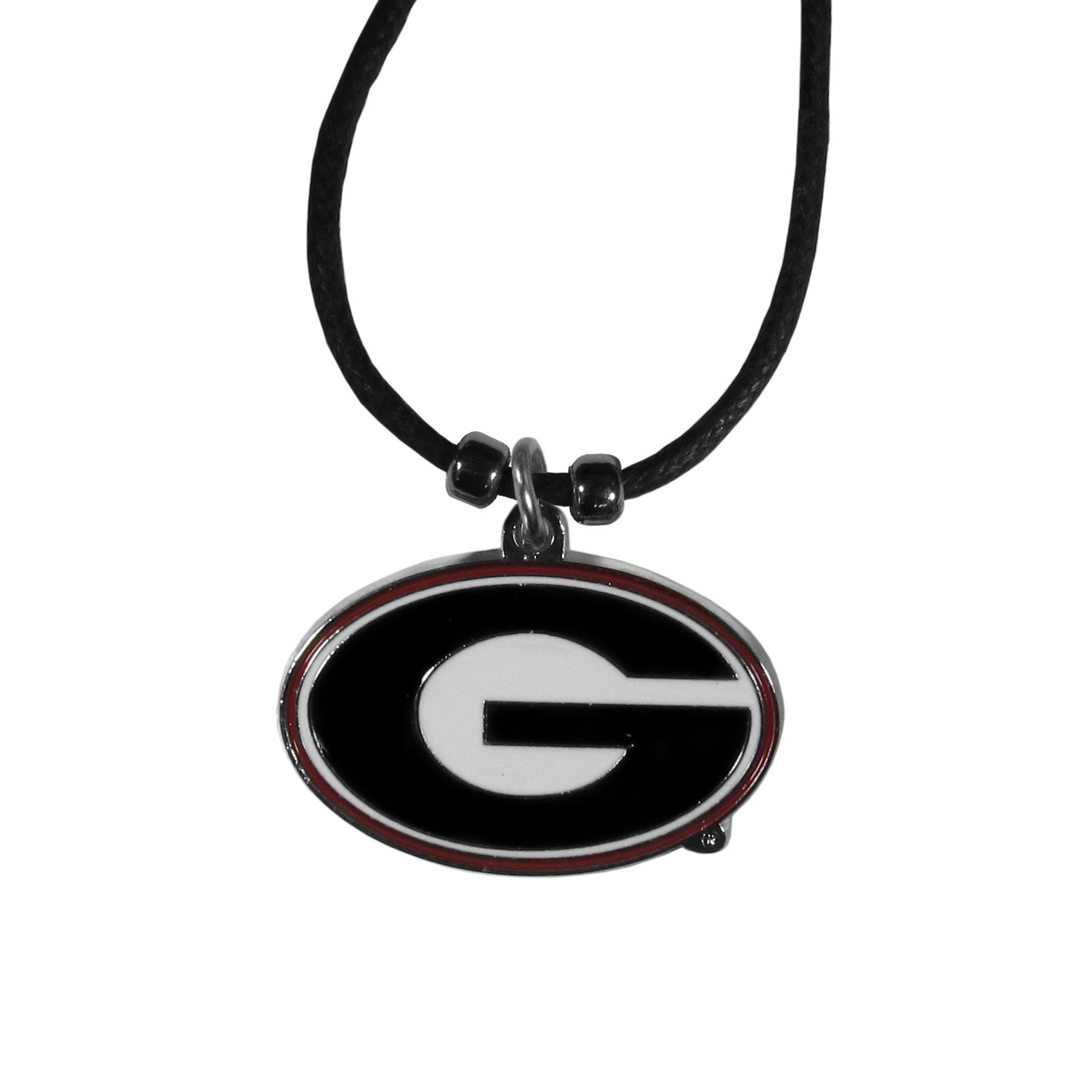 Georgia Bulldogs Cord Necklace - This classic style cotton cord necklace features an extra large Georgia Bulldogs pendant on a 21 inch cord.