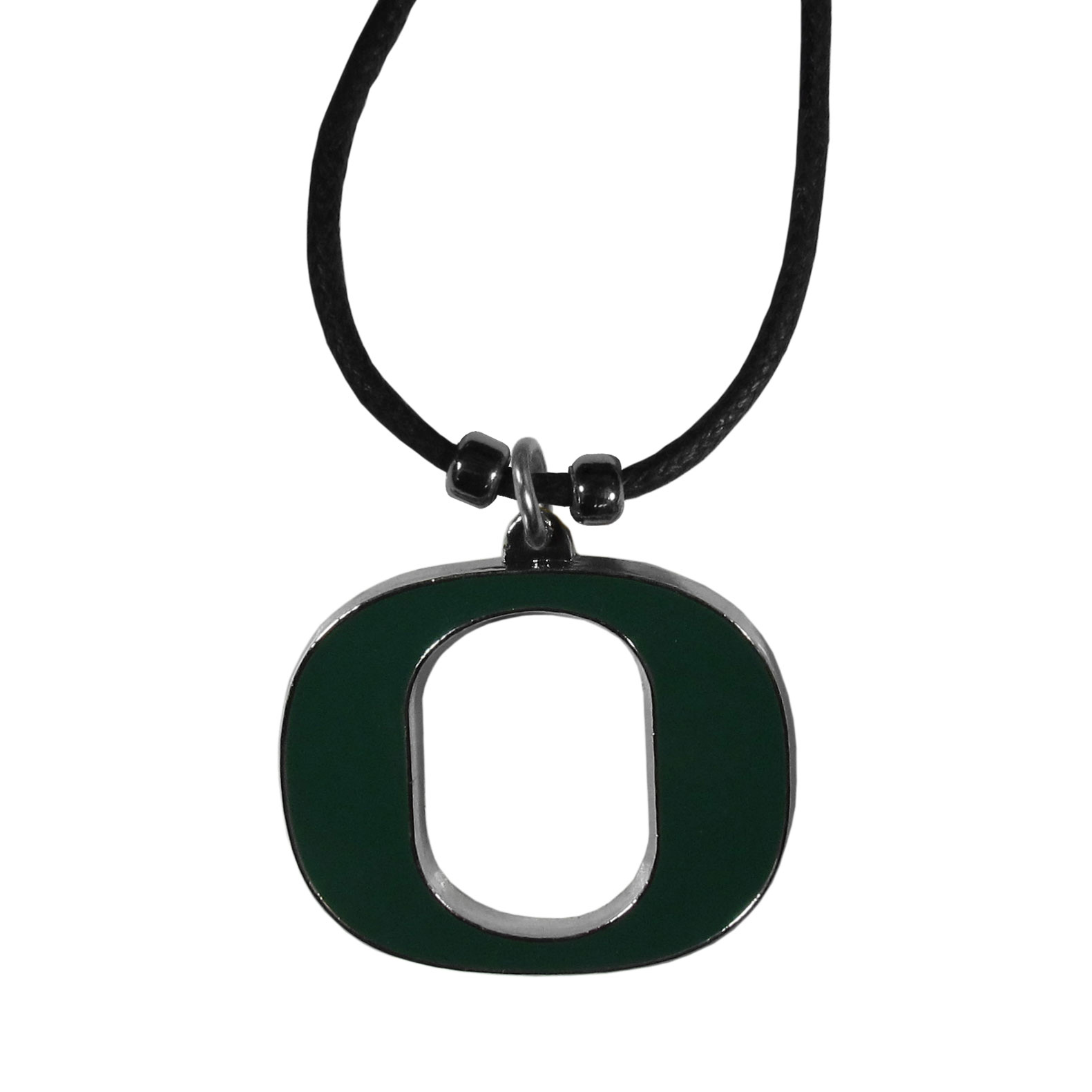 Oregon Ducks Cord Necklace - This classic style cotton cord necklace features an extra large Oregon Ducks pendant on a 21 inch cord.