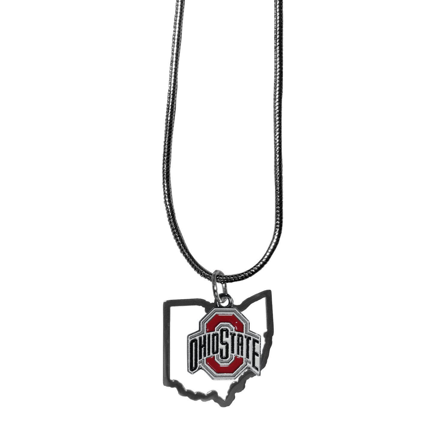 Ohio St. Buckeyes State Charm Necklace - Get in on the trend! State themes are a trend that just keeps getting more popular and these necklaces take the state style and give it a sporty twist with a Ohio St. Buckeyes added to the state outline charm. The come on a snake chain that is 22 inches long.