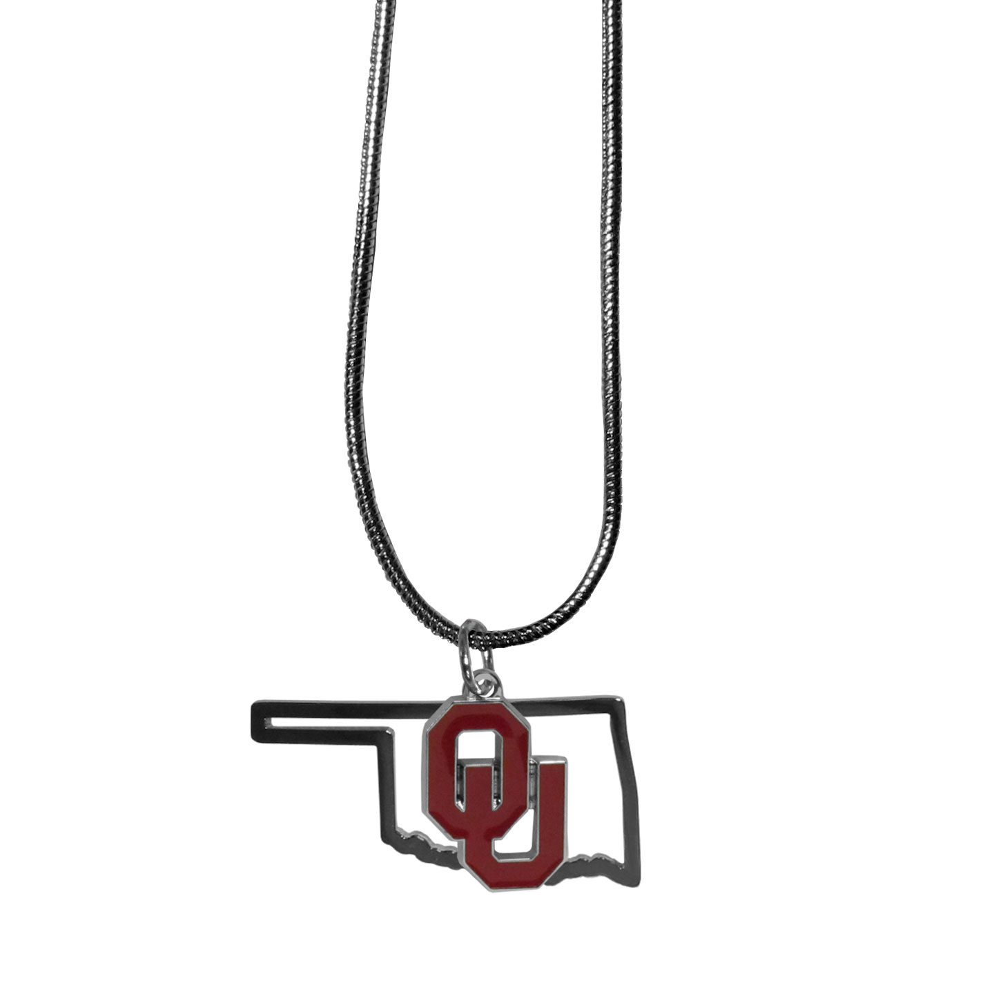 Oklahoma Sooners State Charm Necklace - Get in on the trend! State themes are a trend that just keeps getting more popular and these necklaces take the state style and give it a sporty twist with a Oklahoma Sooners added to the state outline charm. The come on a snake chain that is 22 inches long.