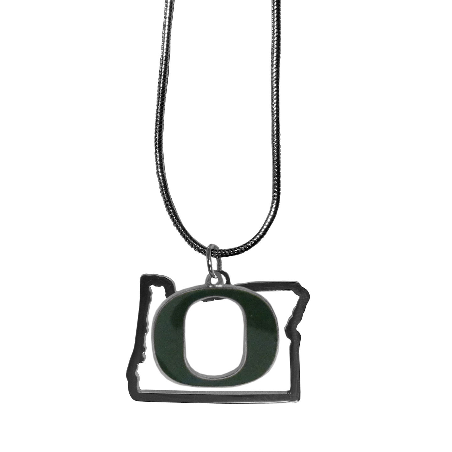 Oregon Ducks State Charm Necklace - Get in on the trend! State themes are a trend that just keeps getting more popular and these necklaces take the state style and give it a sporty twist with a Oregon Ducks added to the state outline charm. The come on a snake chain that is 22 inches long.