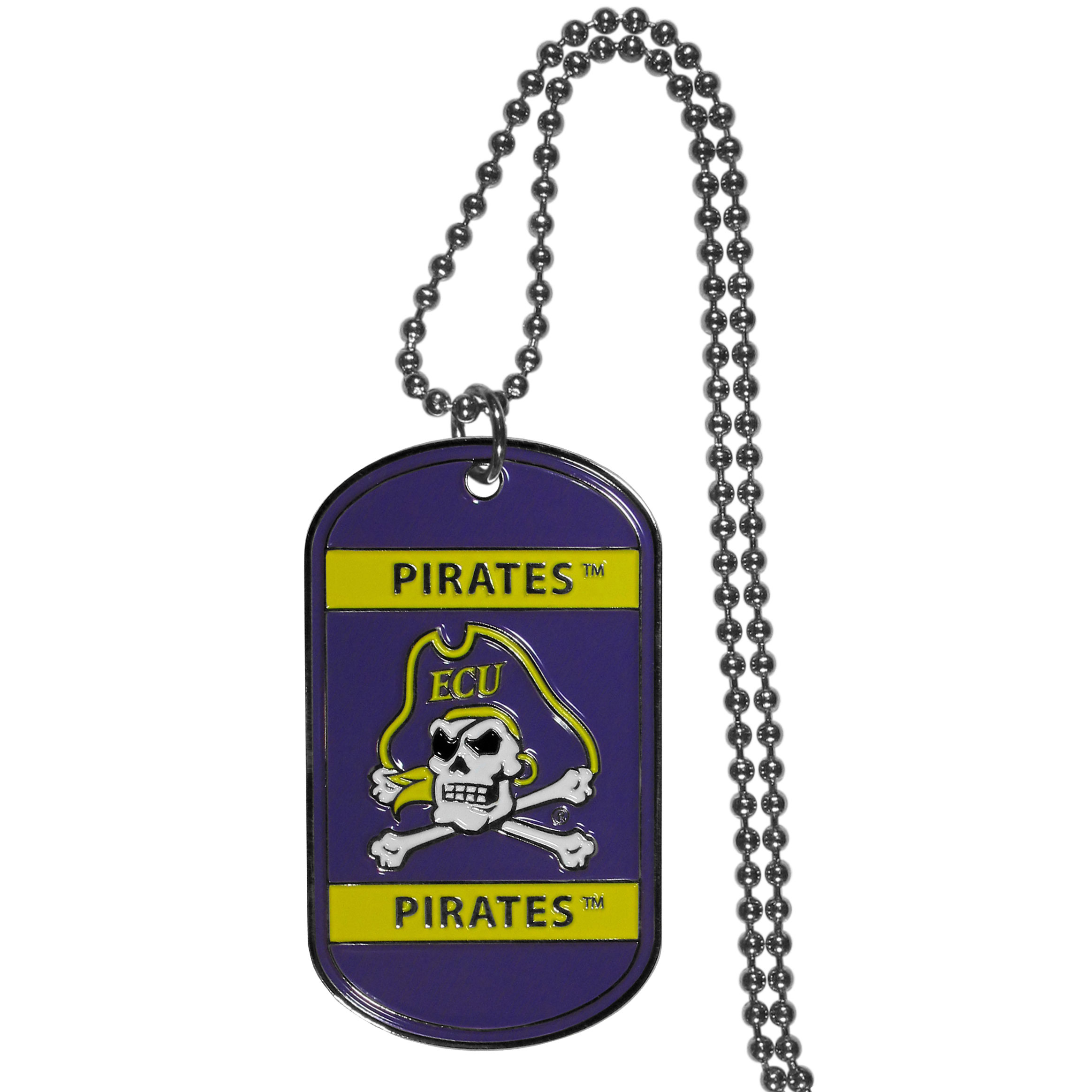 East Carolina Pirates Tag Necklace - Expertly crafted East Carolina Pirates tag necklaces featuring fine detailing and a hand enameled finish with chrome accents. 26 inch ball chain.