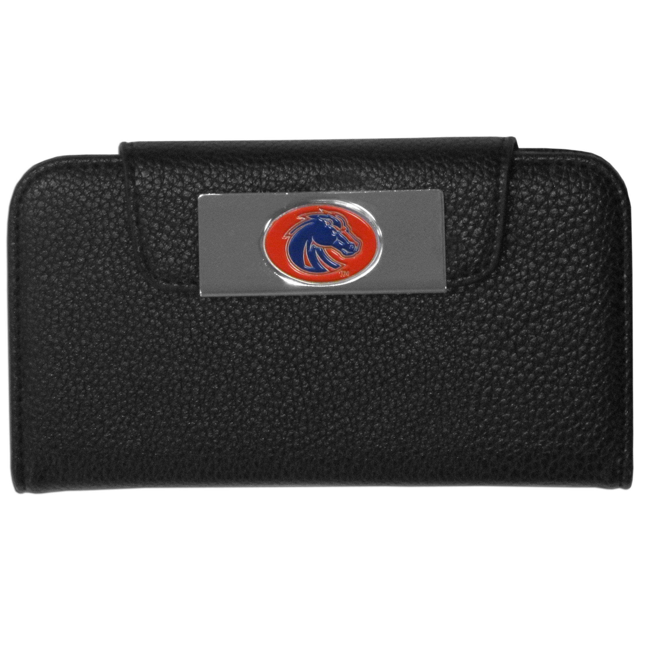 Boise St. Broncos Samsung Galaxy S4 Wallet Case - This new & wildly popular case is ideal for those who like to travel light! The stylish case has an inner hard shell that securely holds your phone while allowing complete access to the phone's functionality. The flip cover has slots for credit cards, business cards and identification. The magnetic flip cover has a metal Boise St. Broncos emblem on a high polish chrome backing. Fits the Samsung Galaxy S4