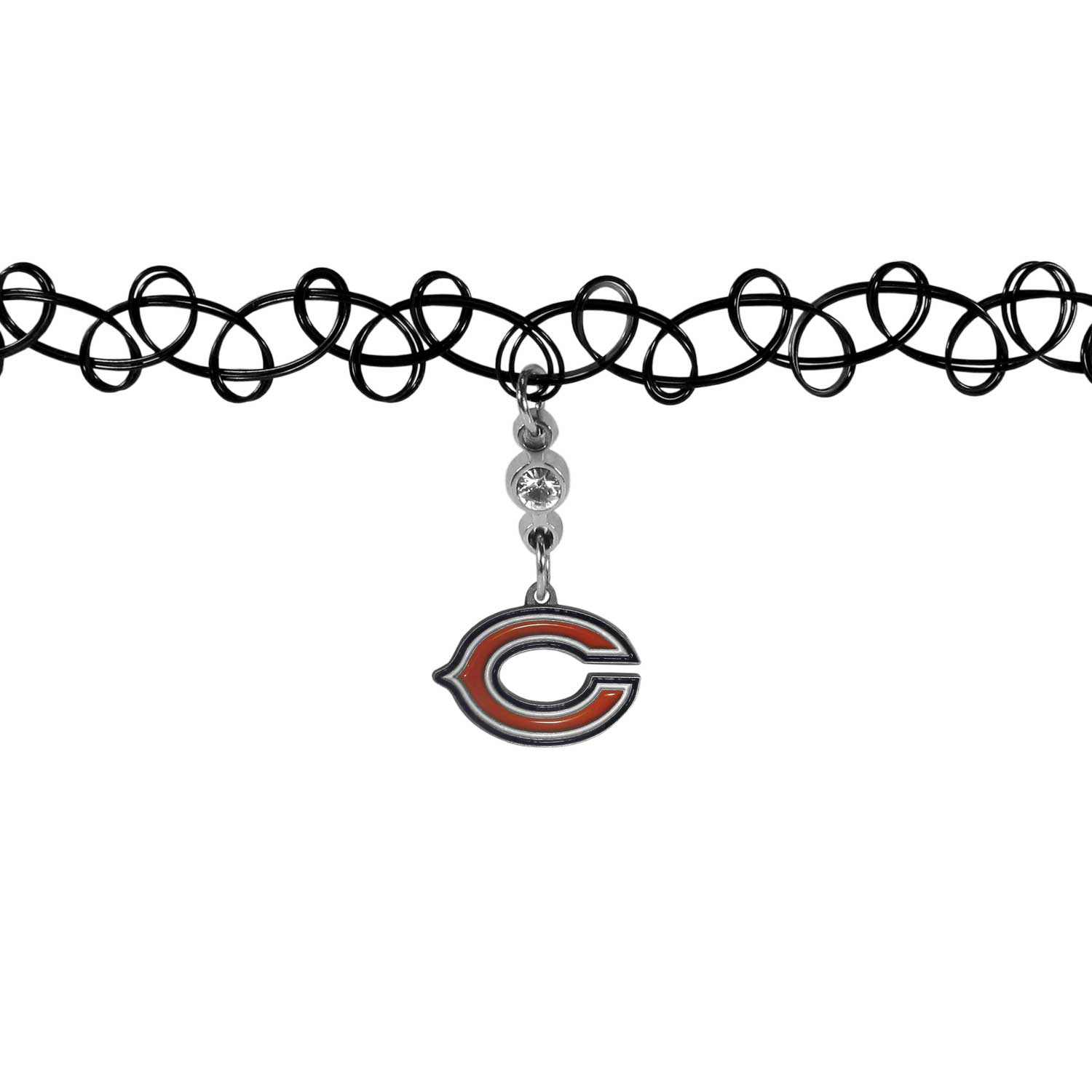 Chicago Bears Knotted Choker - This retro, knotted choker is a cool and unique piece of fan jewelry. The tattoo style choker features a high polish Chicago Bears charm with rhinestone accents.