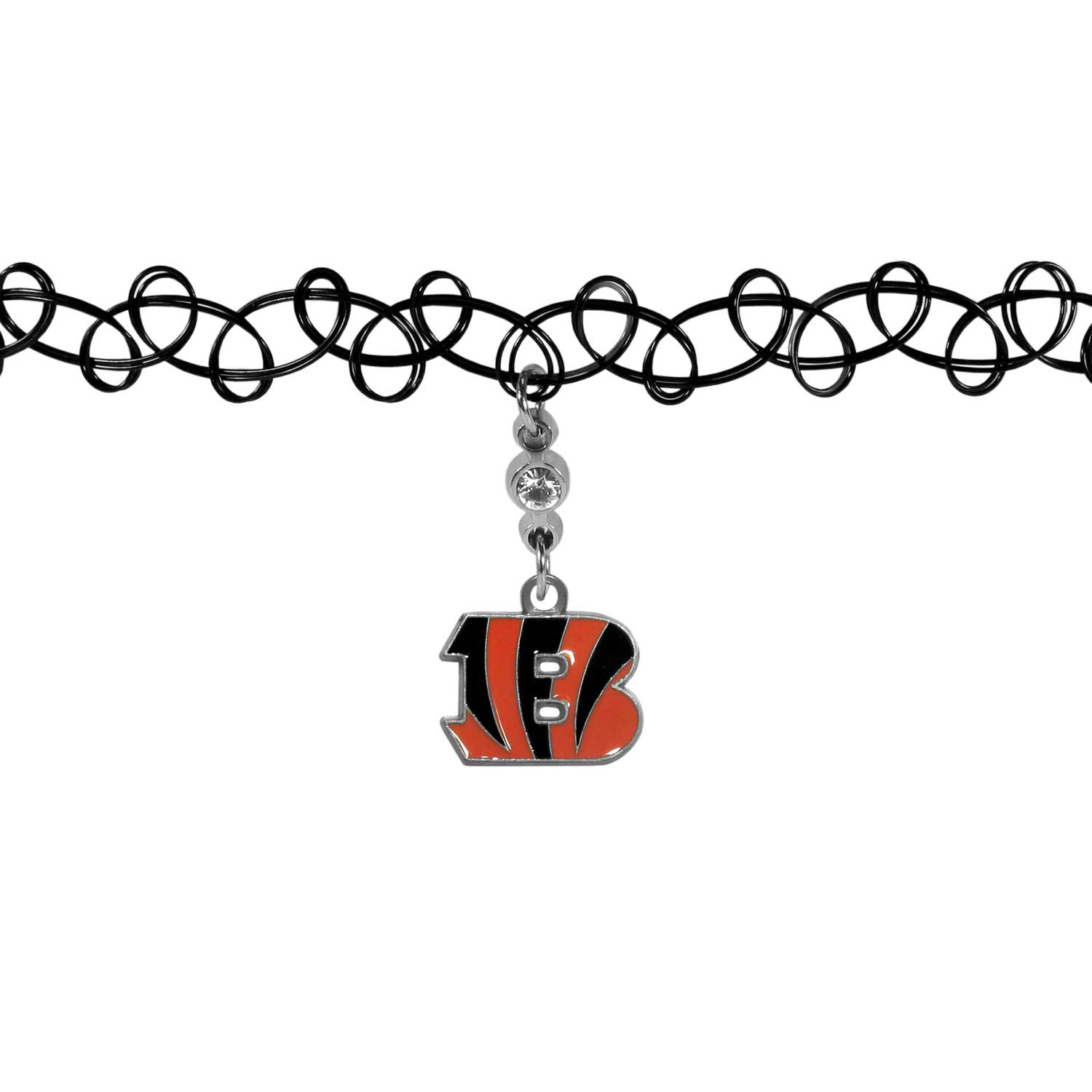 Cincinnati Bengals Knotted Choker - This retro, knotted choker is a cool and unique piece of fan jewelry. The tattoo style choker features a high polish Cincinnati Bengals charm with rhinestone accents.