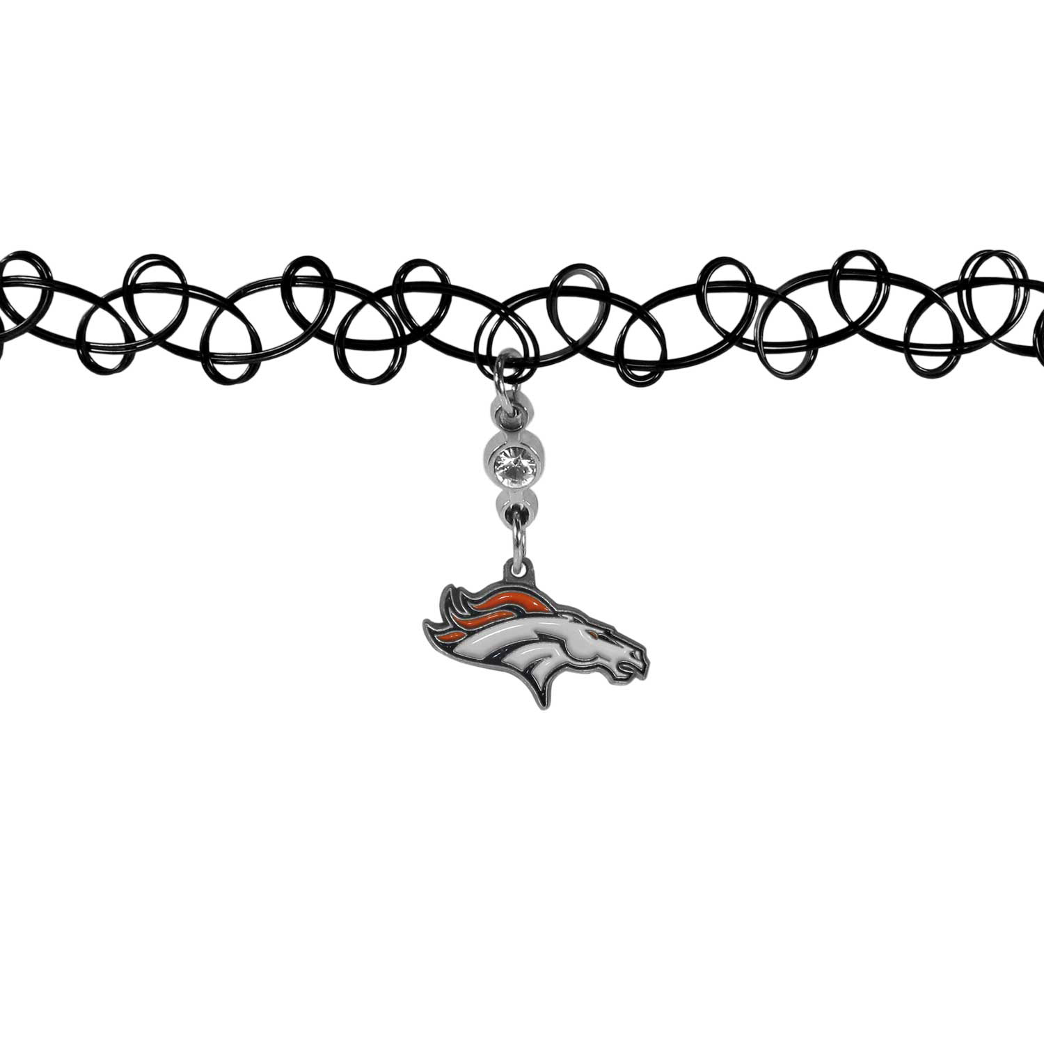 Denver Broncos Knotted Choker - This retro, knotted choker is a cool and unique piece of fan jewelry. The tattoo style choker features a high polish Denver Broncos charm with rhinestone accents.