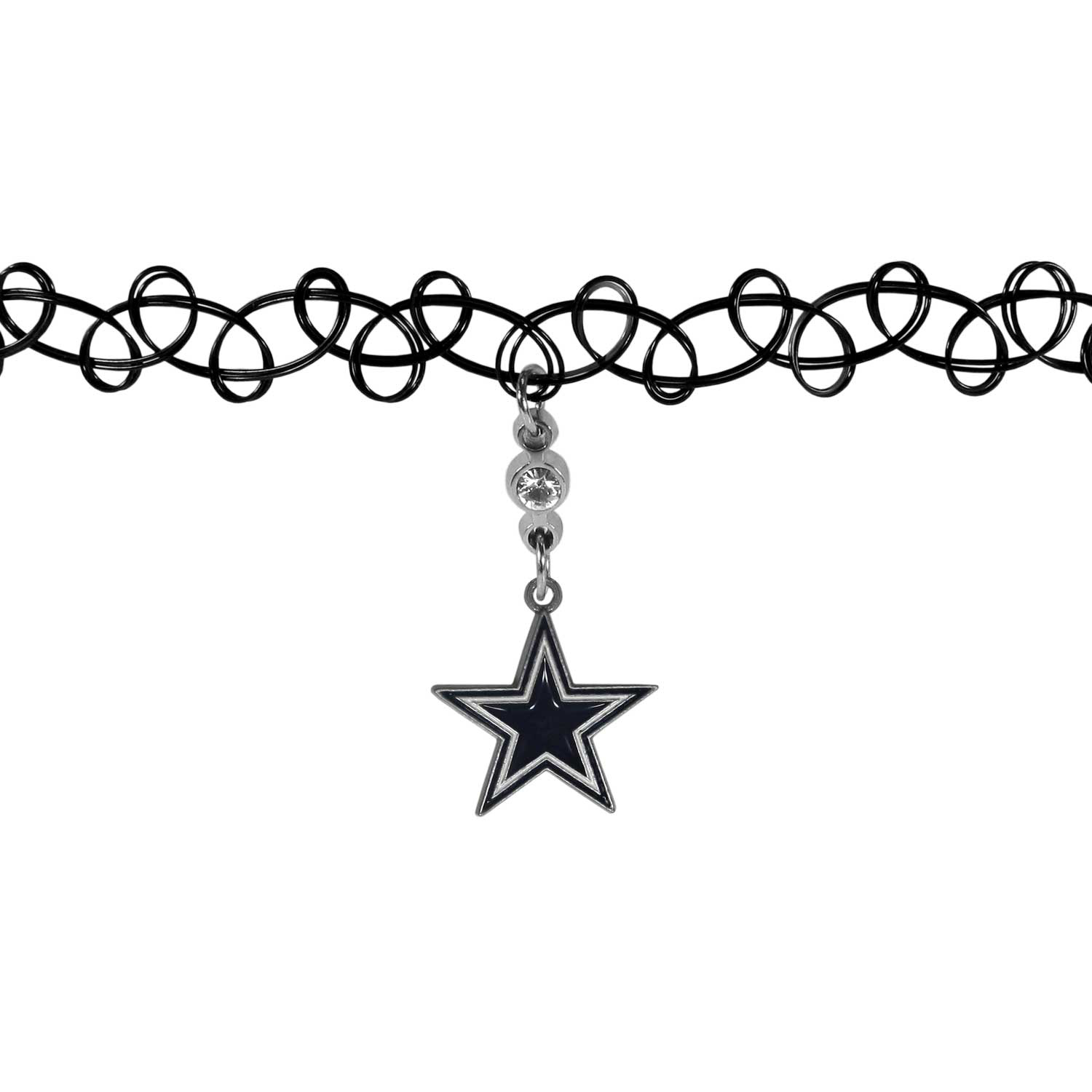 Dallas Cowboys Knotted Choker - This retro, knotted choker is a cool and unique piece of fan jewelry. The tattoo style choker features a high polish Dallas Cowboys charm with rhinestone accents.