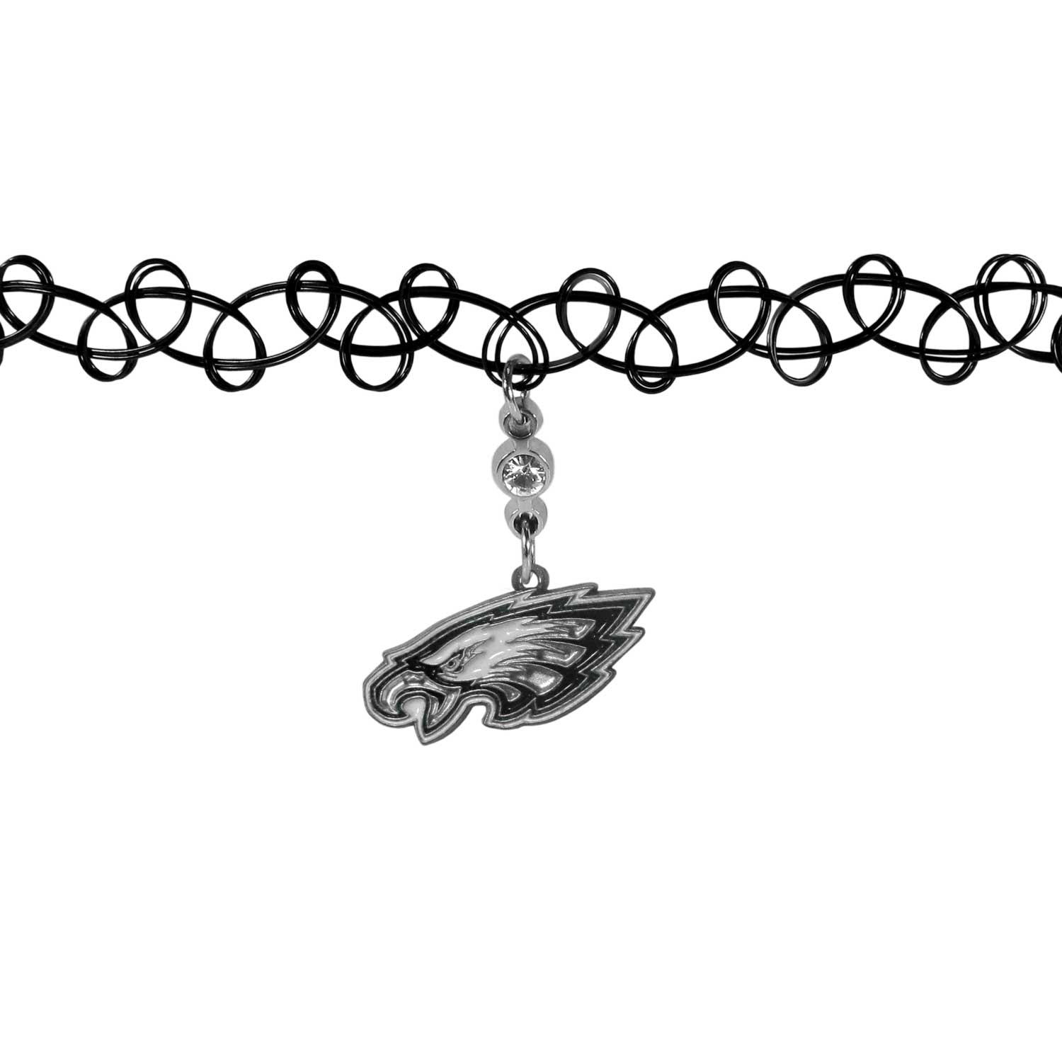 Philadelphia Eagles Knotted Choker - This retro, knotted choker is a cool and unique piece of fan jewelry. The tattoo style choker features a high polish Philadelphia Eagles charm with rhinestone accents.