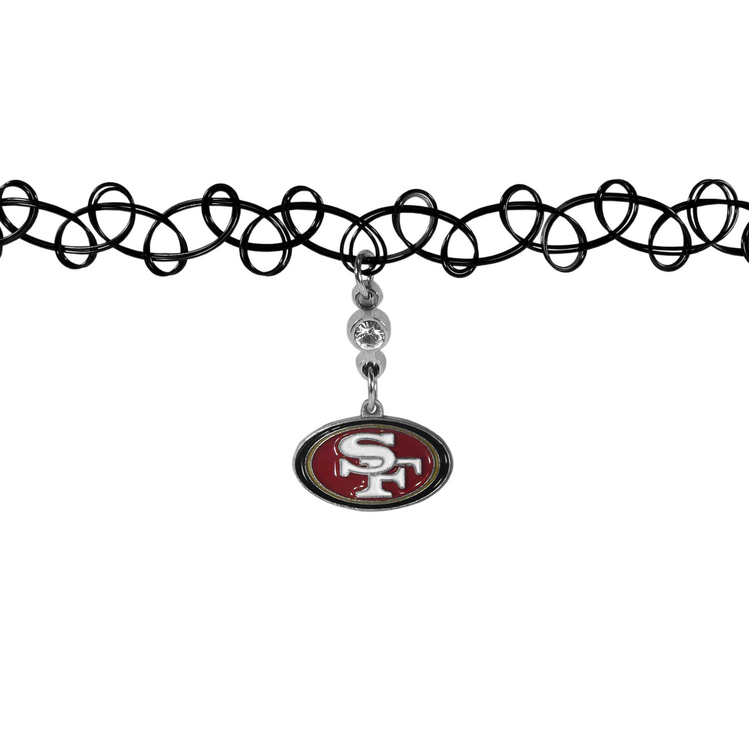 San Francisco 49ers Knotted Choker - This retro, knotted choker is a cool and unique piece of fan jewelry. The tattoo style choker features a high polish San Francisco 49ers charm with rhinestone accents.