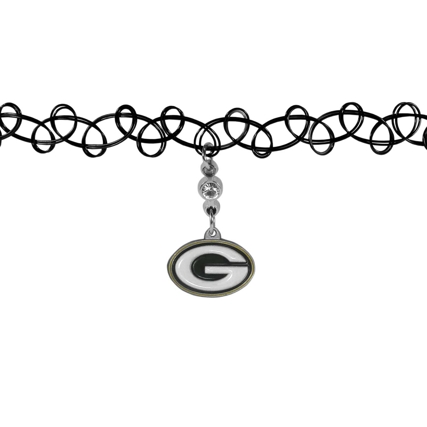 Green Bay Packers Knotted Choker - This retro, knotted choker is a cool and unique piece of fan jewelry. The tattoo style choker features a high polish Green Bay Packers charm with rhinestone accents.