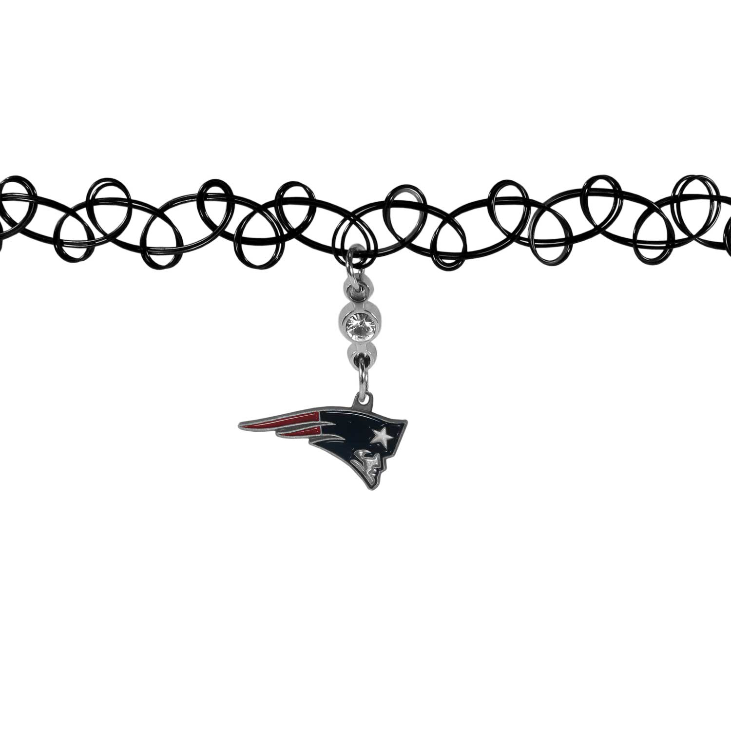 New England Patriots Knotted Choker - This retro, knotted choker is a cool and unique piece of fan jewelry. The tattoo style choker features a high polish New England Patriots charm with rhinestone accents.