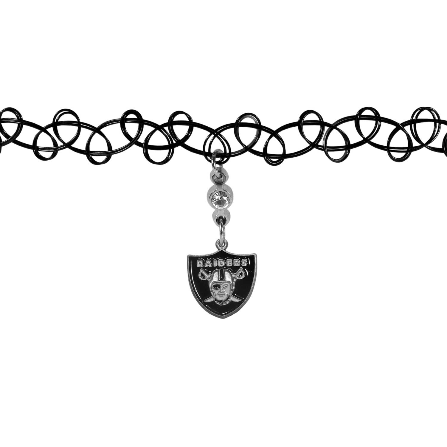 Oakland Raiders Knotted Choker - This retro, knotted choker is a cool and unique piece of fan jewelry. The tattoo style choker features a high polish Oakland Raiders charm with rhinestone accents.