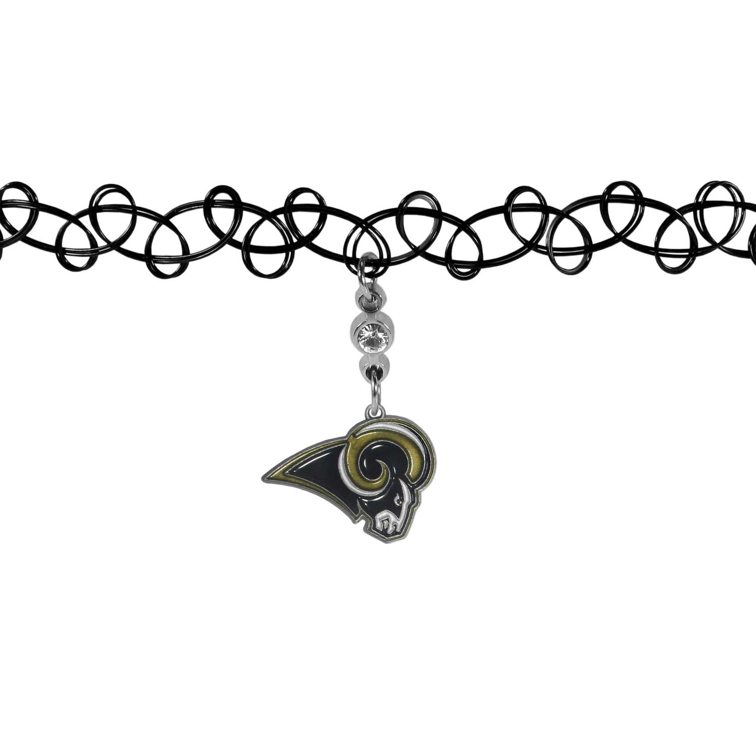 Los Angeles Rams Knotted Choker - This retro, knotted choker is a cool and unique piece of fan jewelry. The tattoo style choker features a high polish Los Angeles Rams charm with rhinestone accents.