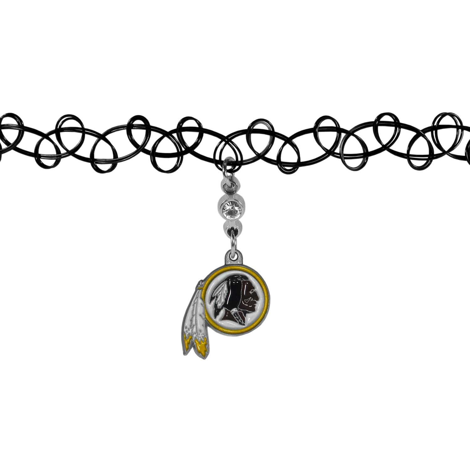 Washington Redskins Knotted Choker - This retro, knotted choker is a cool and unique piece of fan jewelry. The tattoo style choker features a high polish Washington Redskins charm with rhinestone accents.