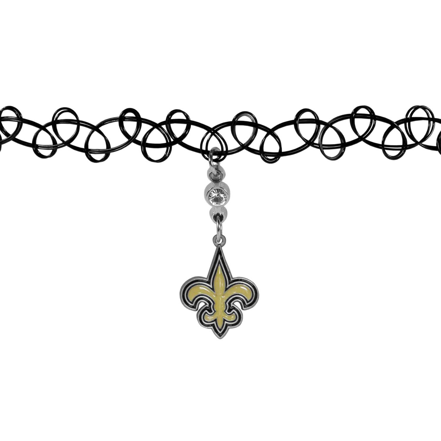 New Orleans Saints Knotted Choker - This retro, knotted choker is a cool and unique piece of fan jewelry. The tattoo style choker features a high polish New Orleans Saints charm with rhinestone accents.