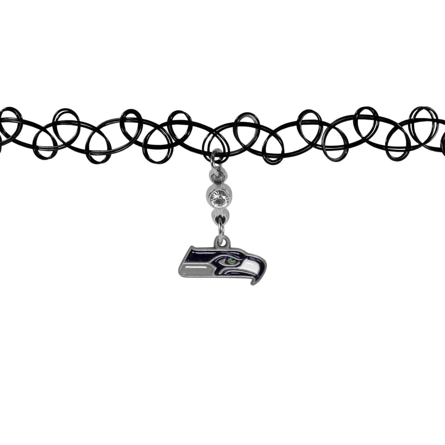 Seattle Seahawks Knotted Choker - This retro, knotted choker is a cool and unique piece of fan jewelry. The tattoo style choker features a high polish Seattle Seahawks charm with rhinestone accents.