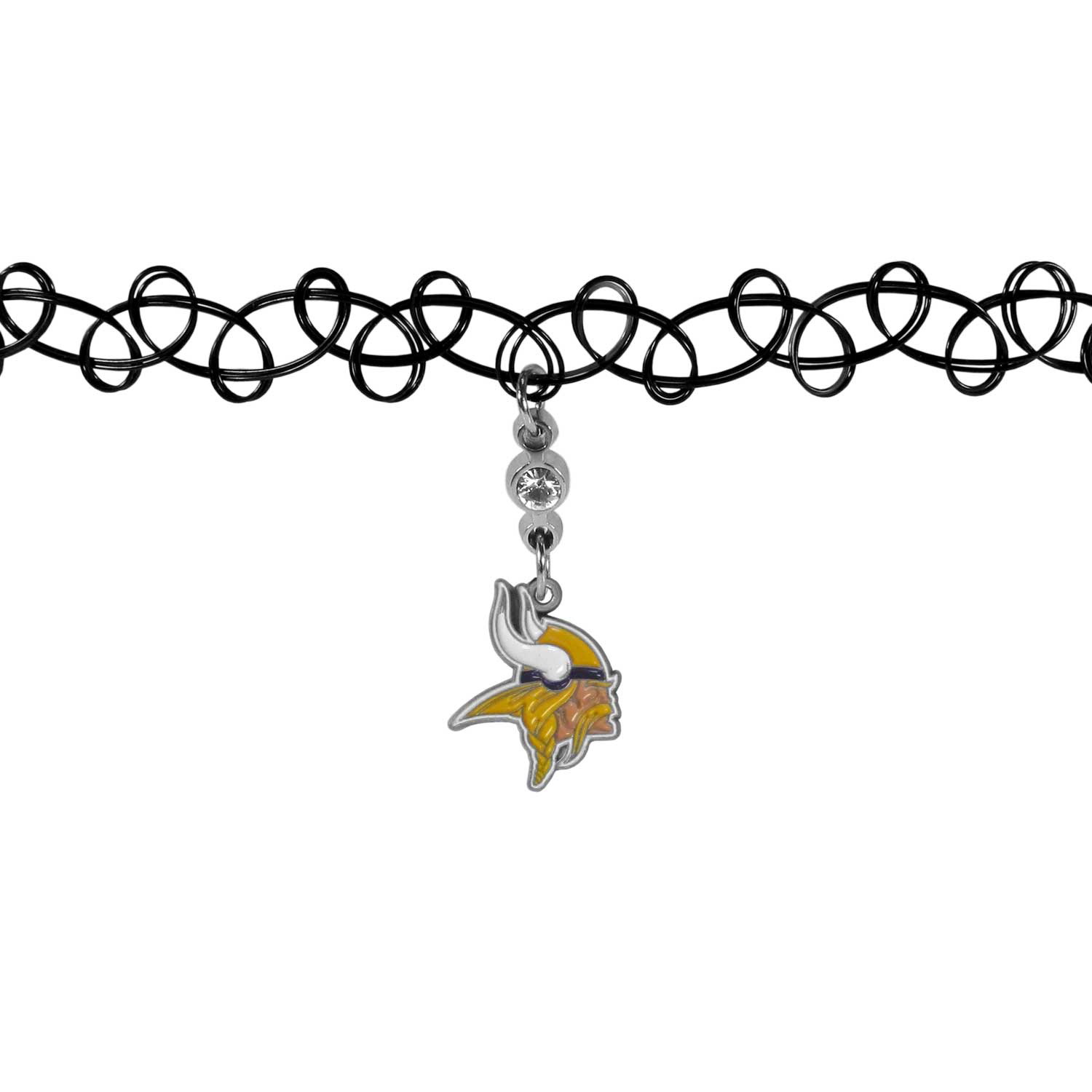 Minnesota Vikings Knotted Choker - This retro, knotted choker is a cool and unique piece of fan jewelry. The tattoo style choker features a high polish Minnesota Vikings charm with rhinestone accents.
