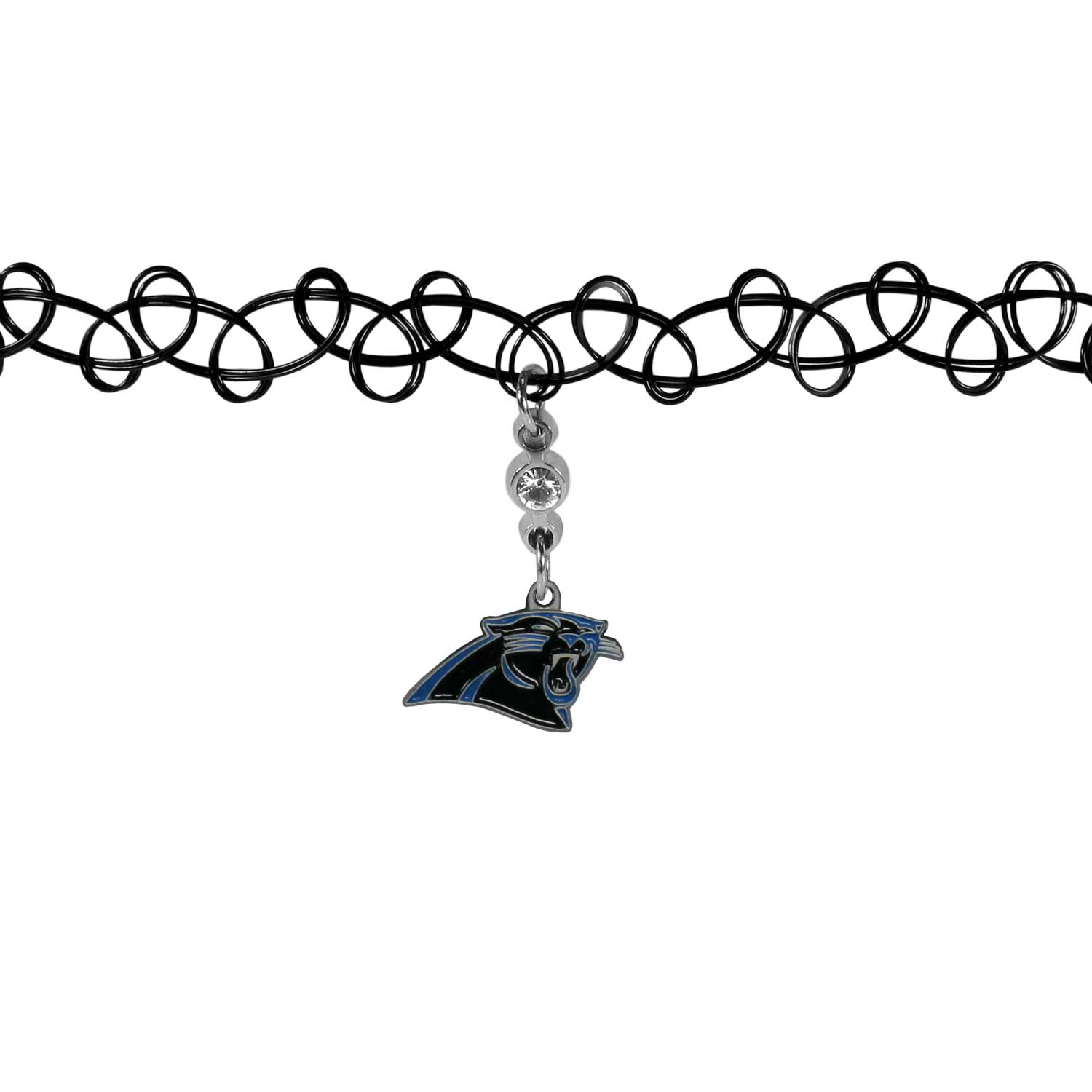 Carolina Panthers Knotted Choker - This retro, knotted choker is a cool and unique piece of fan jewelry. The tattoo style choker features a high polish Carolina Panthers charm with rhinestone accents.