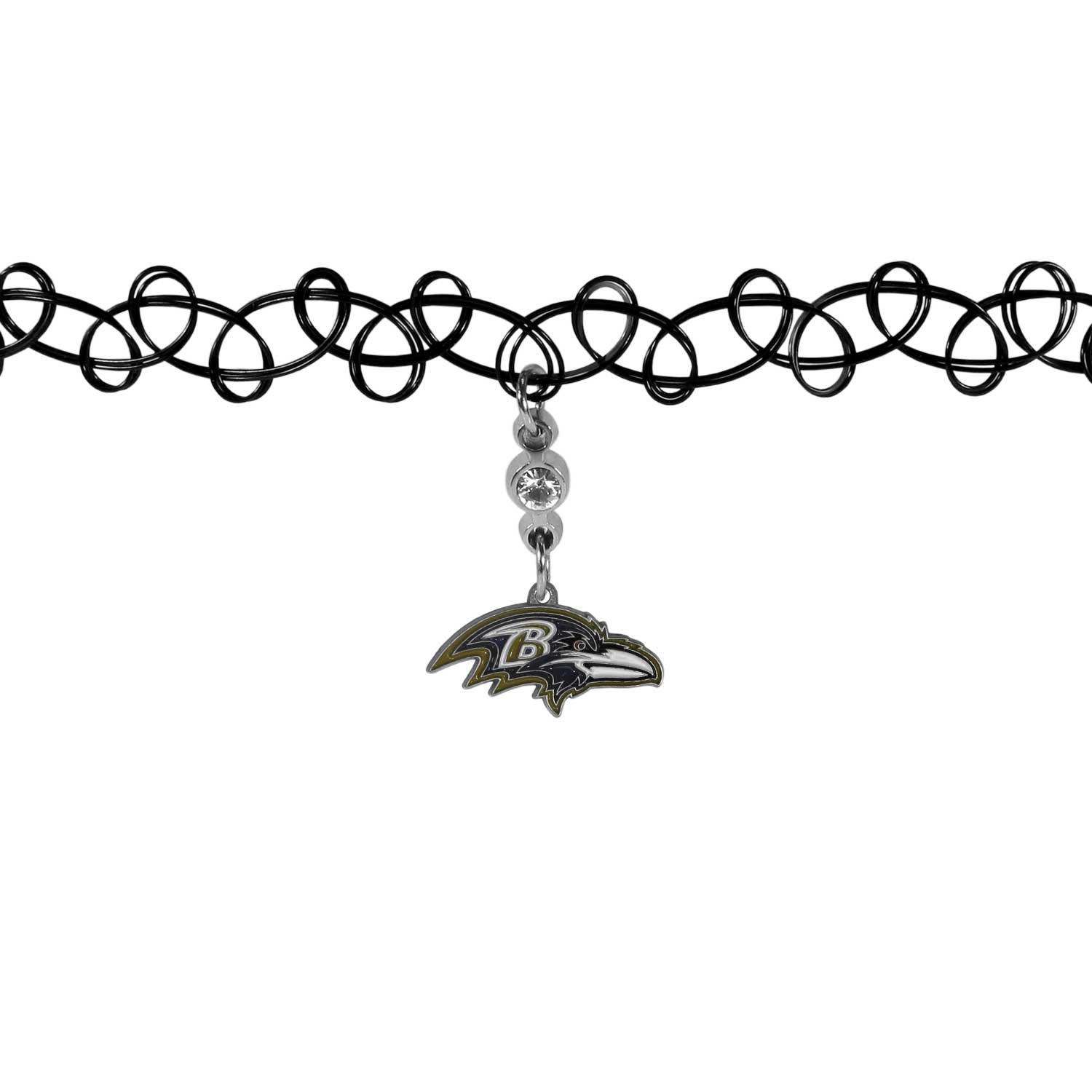 Baltimore Ravens Knotted Choker - This retro, knotted choker is a cool and unique piece of fan jewelry. The tattoo style choker features a high polish Baltimore Ravens charm with rhinestone accents.