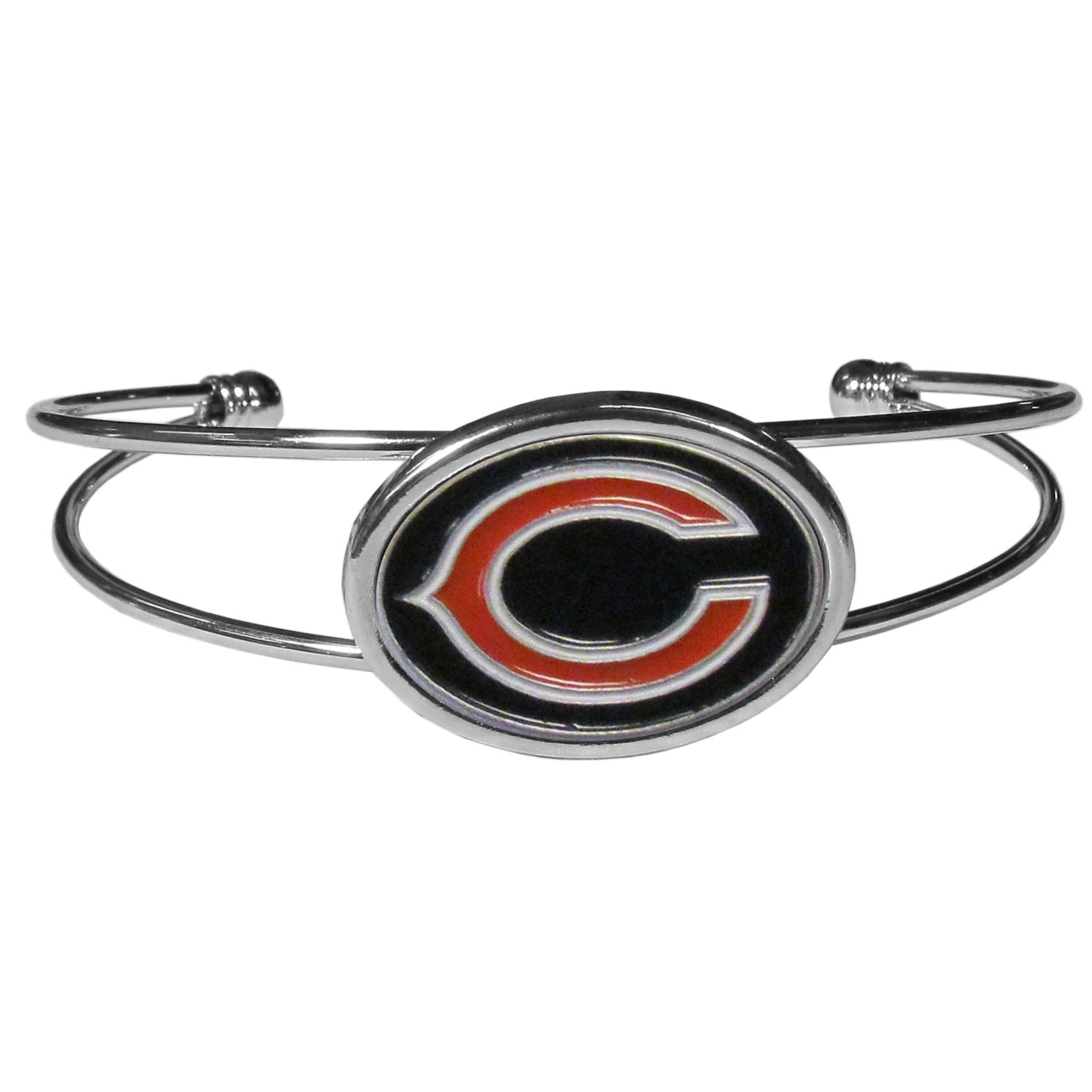 Chicago Bears Cuff Bracelet - These comfortable and fashionable double-bar cuff bracelets feature a 1 inch metal Chicago Bears inset logo with enameled detail.