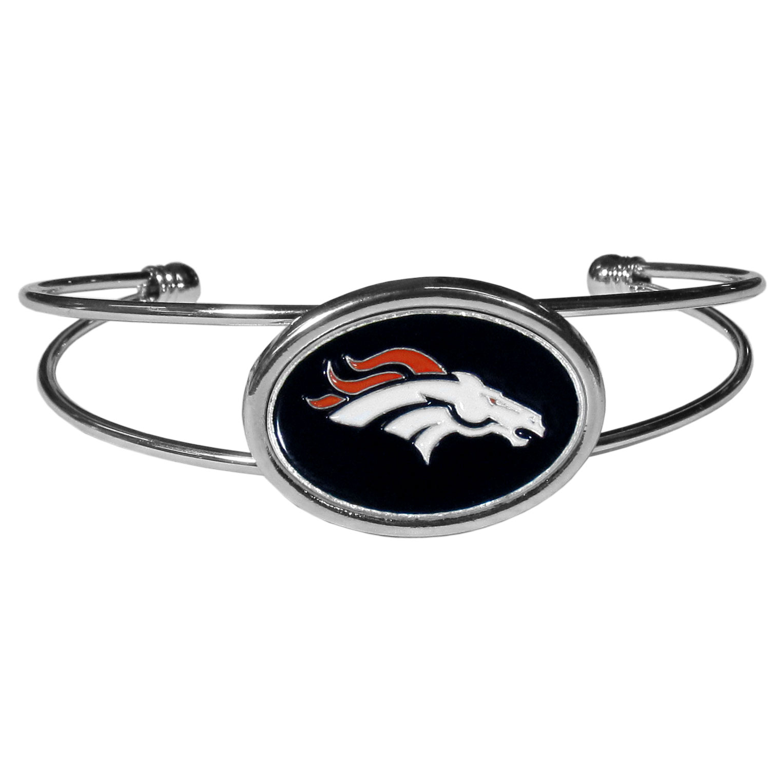 Denver Broncos Cuff Bracelet - These comfortable and fashionable double-bar cuff bracelets feature a 1 inch metal Denver Broncos inset logo with enameled detail.