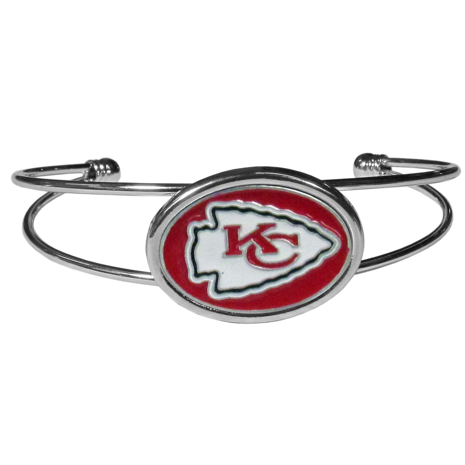 Kansas City Chiefs Cuff Bracelet - These comfortable and fashionable double-bar cuff bracelets feature a 1 inch metal Kansas City Chiefs inset logo with enameled detail.