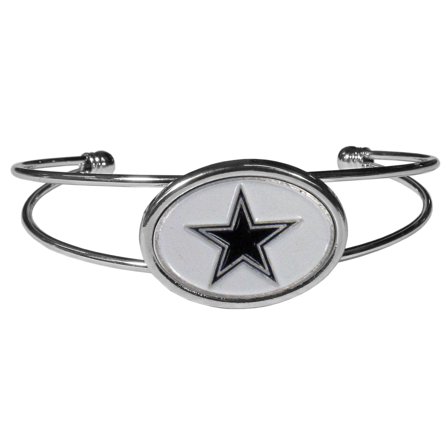 Dallas Cowboys Cuff Bracelet - These comfortable and fashionable double-bar cuff bracelets feature a 1 inch metal Dallas Cowboys inset logo with enameled detail.
