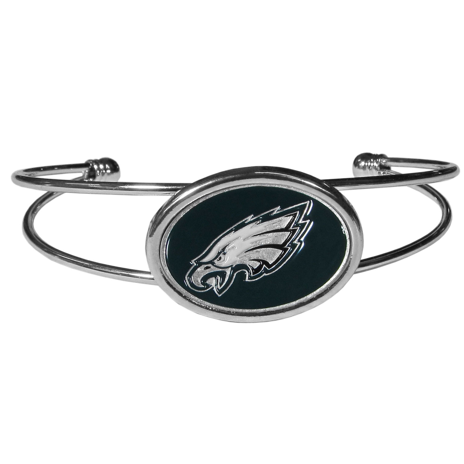 Philadelphia Eagles Cuff Bracelet - These comfortable and fashionable double-bar cuff bracelets feature a 1 inch metal Philadelphia Eagles inset logo with enameled detail.