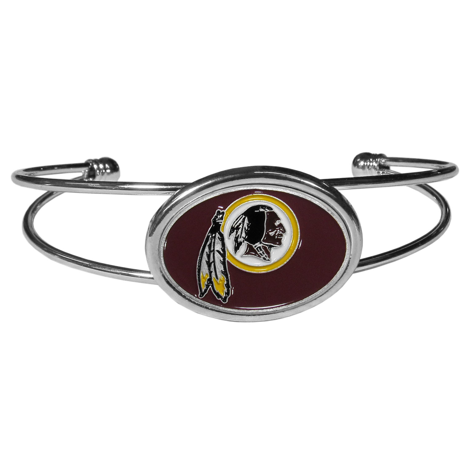 Washington Redskins Cuff Bracelet - These comfortable and fashionable double-bar cuff bracelets feature a 1 inch metal Washington Redskins inset logo with enameled detail.